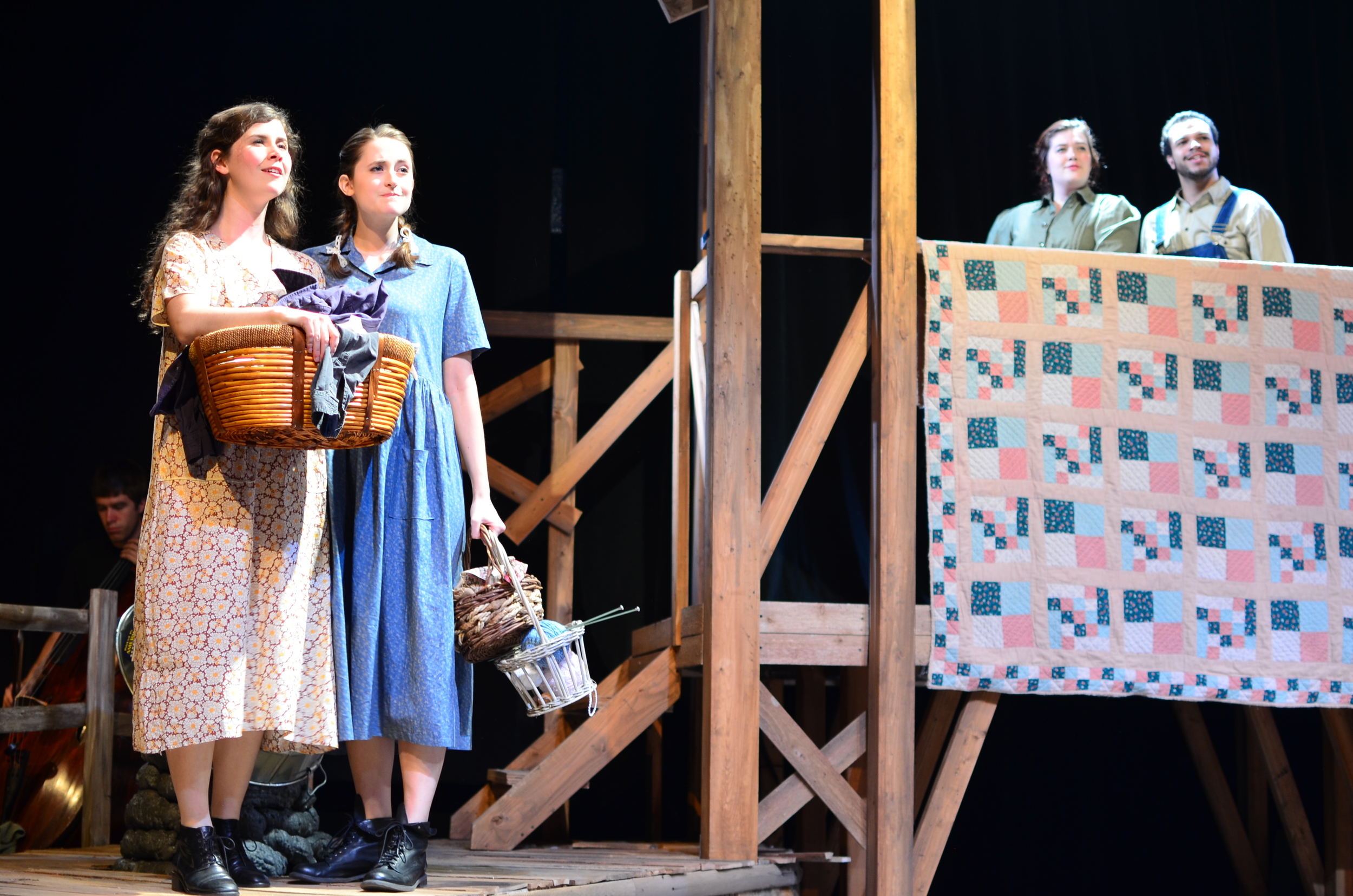 Orlena ( Laurel Durning-Hammond ) and Sary ( Lucie Ledbetter ) [ foreground ]; Mae ( Mary Bolt ) and James ( Carter Michael ) [ background ].
