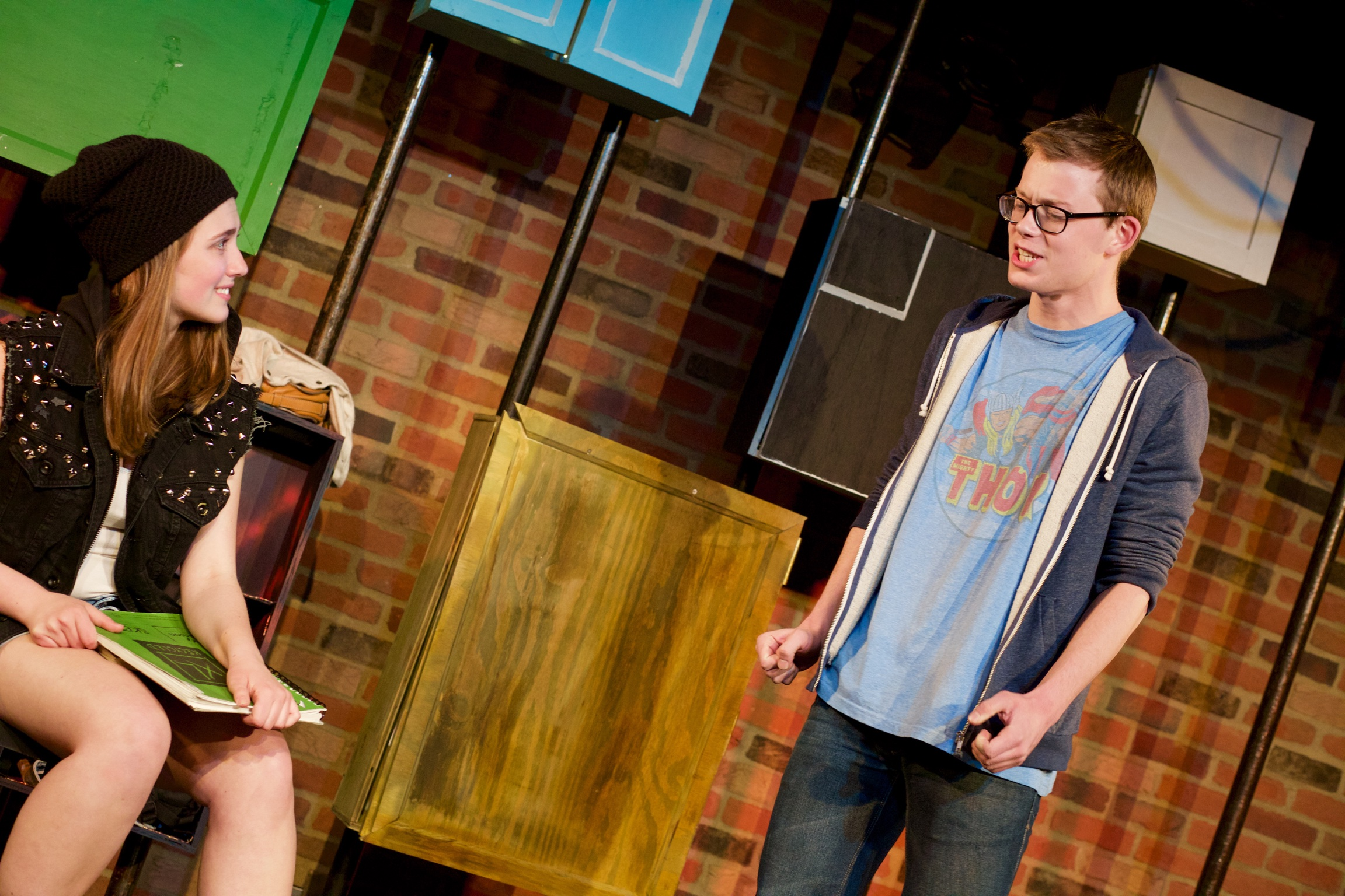 Astrid ( Sarah Chapin ) and Paul ( Miles Walter ).