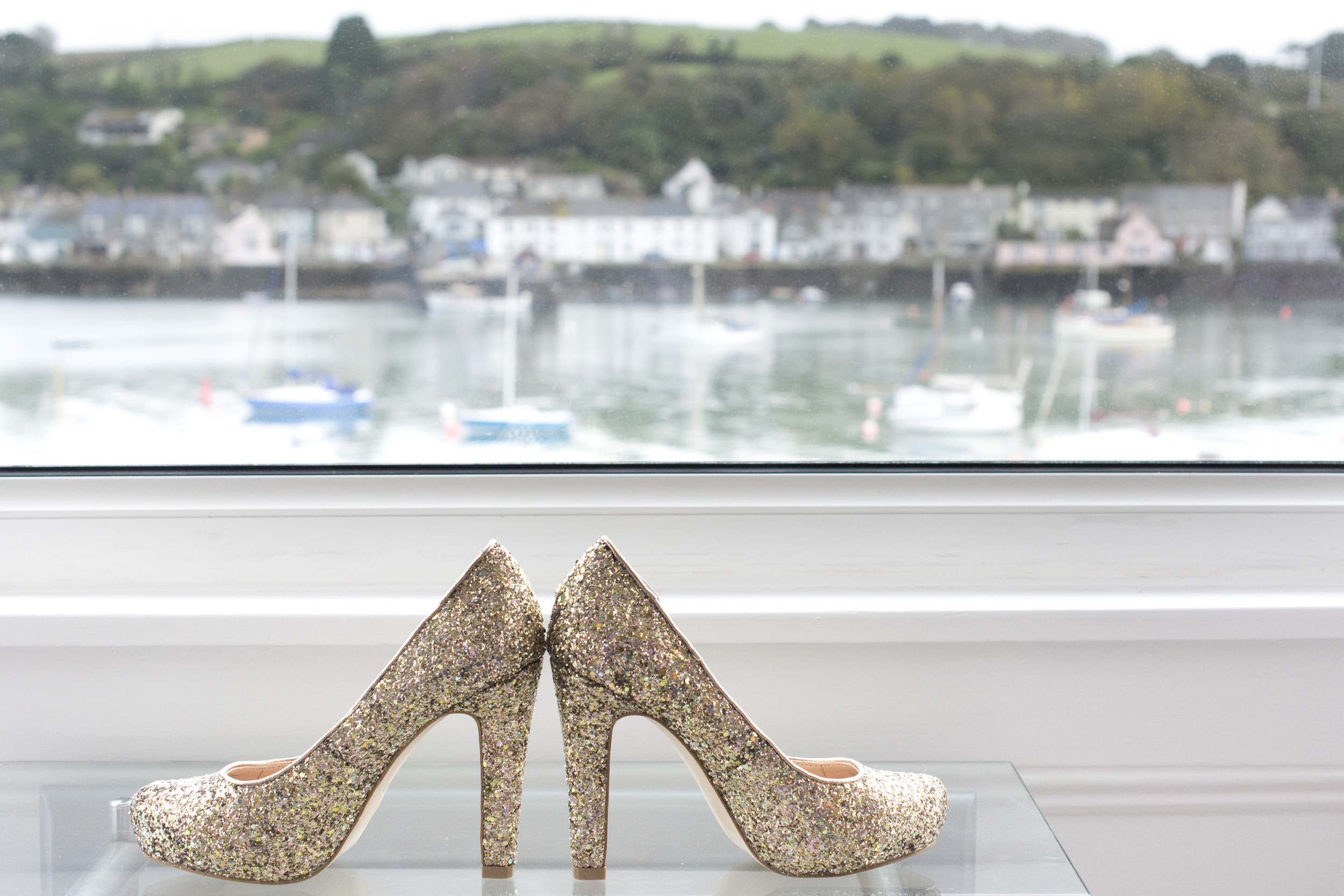 gold glittery wedding shoes at The Greenbank Hotel Falmouth