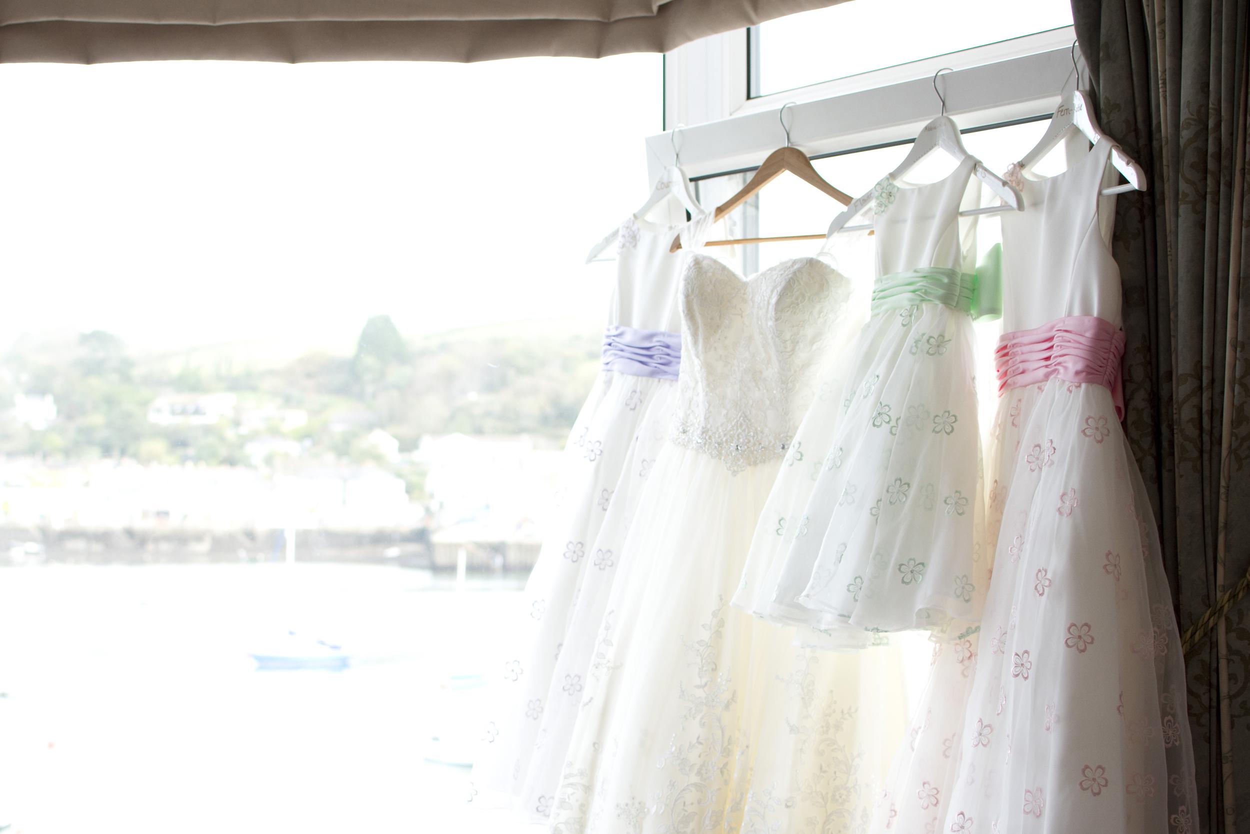 pastel coloured bridesmaids dresses at The GreenBank Hotel Falmouth