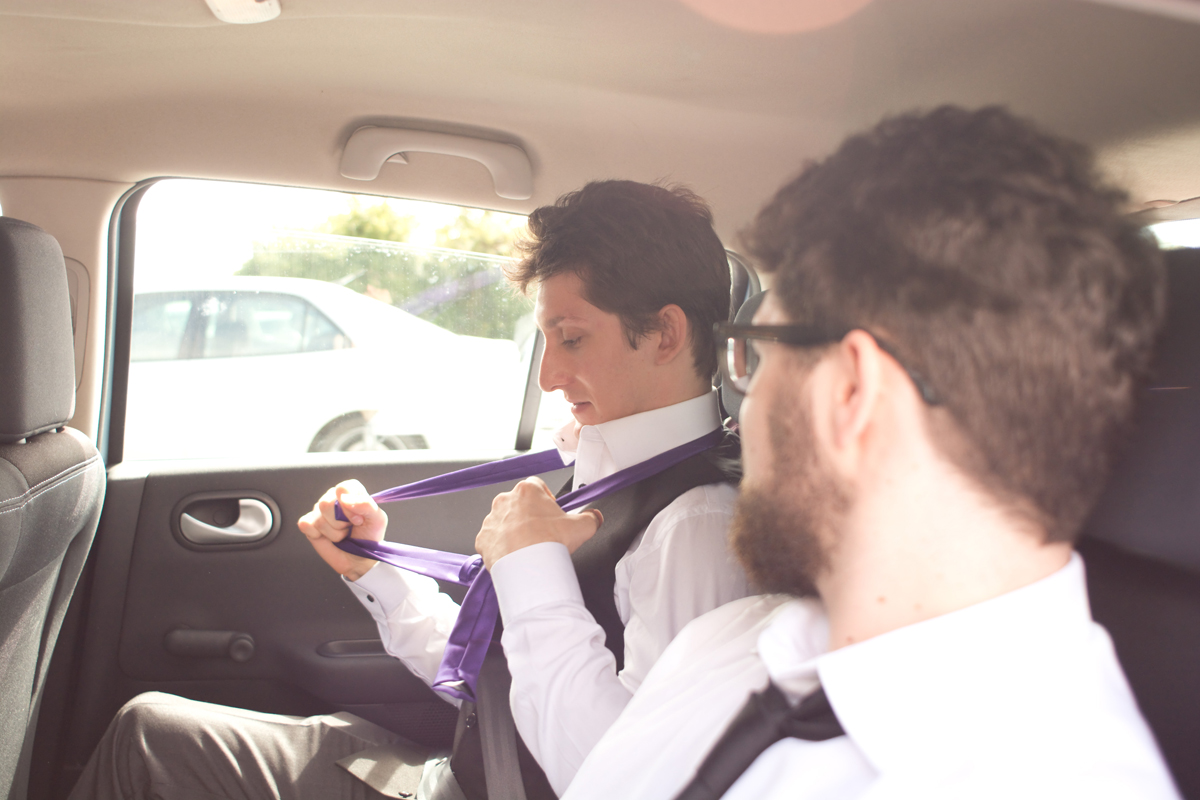 back in the car for a trip to Kynance Cove and the tie comes off.