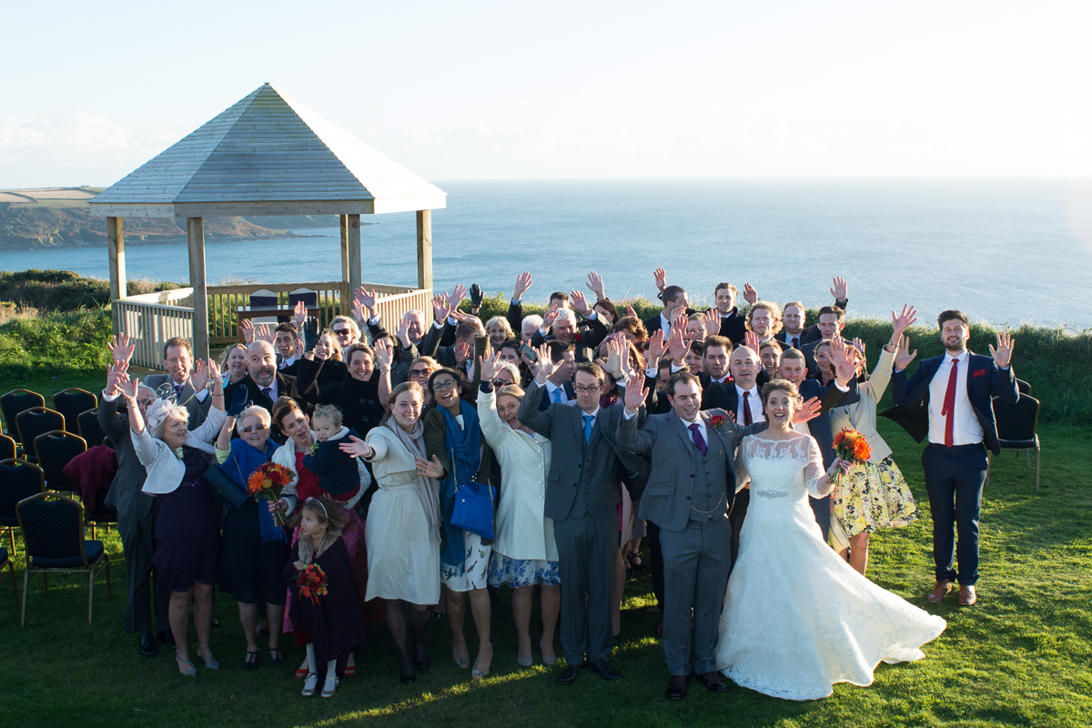 all the guest celebrate at a whitsand bay fort wedding