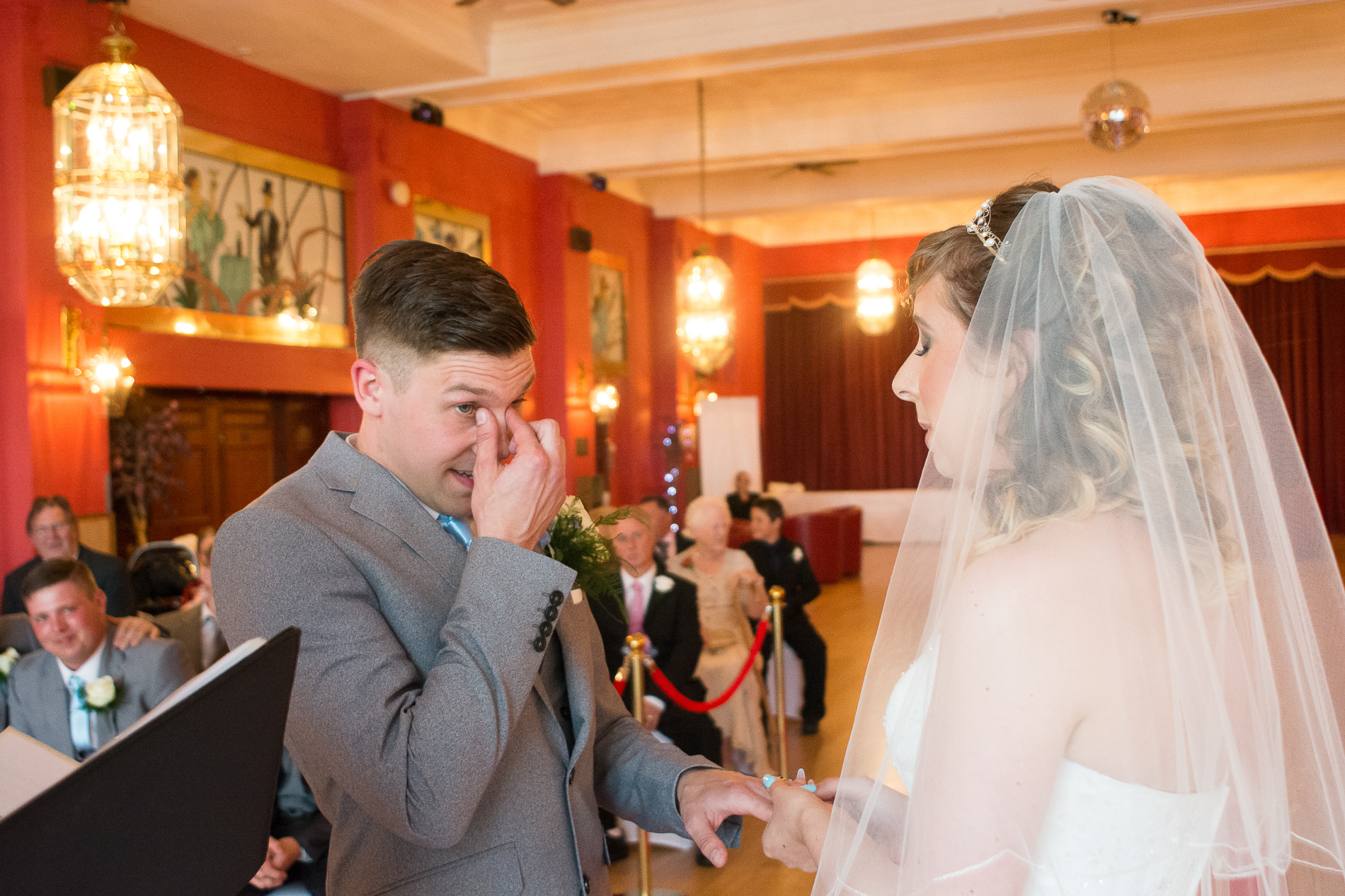 very emotional groom with happy tears at the atlantic hotel newquay