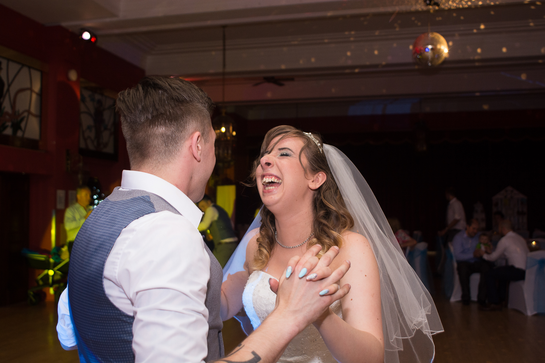 big smiles during the first dance at the Atlantic Hotel in Newquay