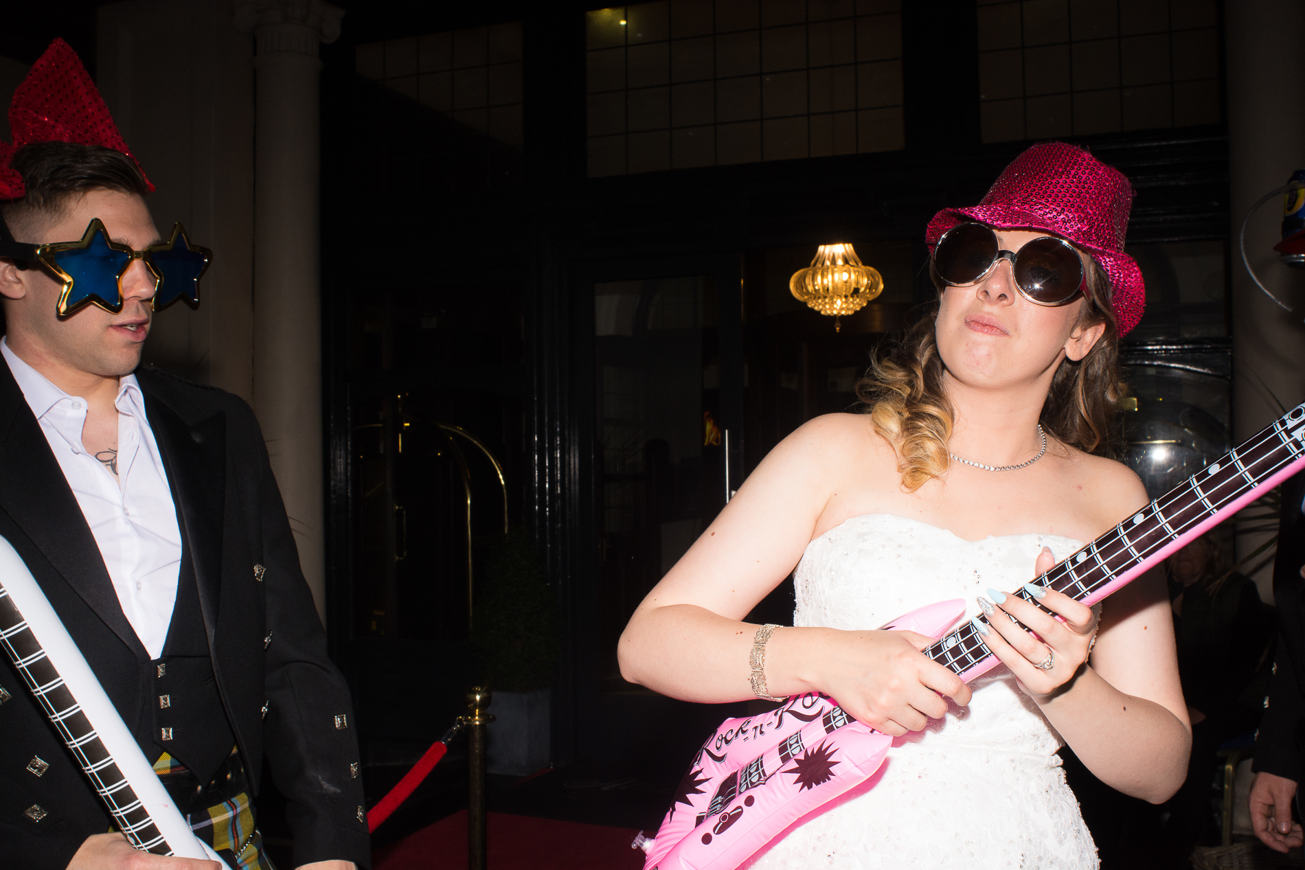 the bride and groom are rockstars at the Atlantic Hotel Newquay