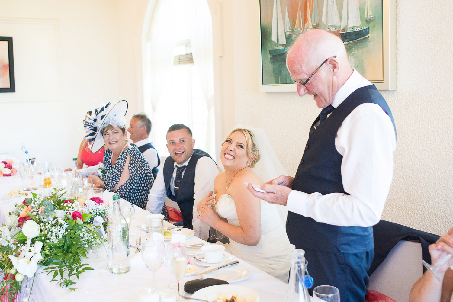 the father of the bride's heart warming speech at the Headland Hotel Torquay