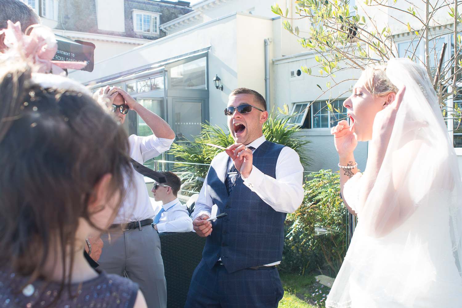 bride and groom reaction to the magic of Dan Brazier at the Headland Hotel Torquay