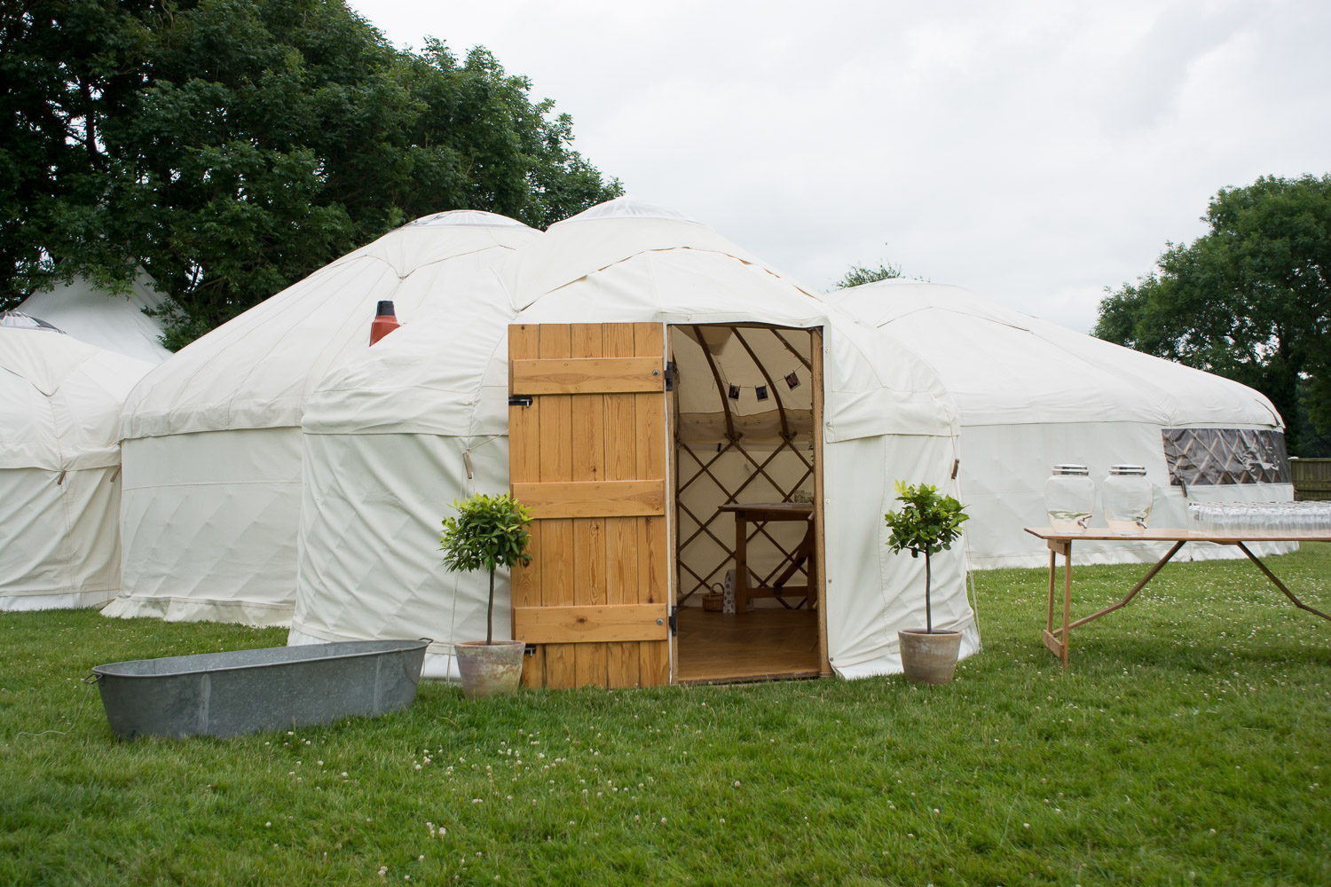 outside view of the wedding yurts at wedding yurts wedding in leicestershire