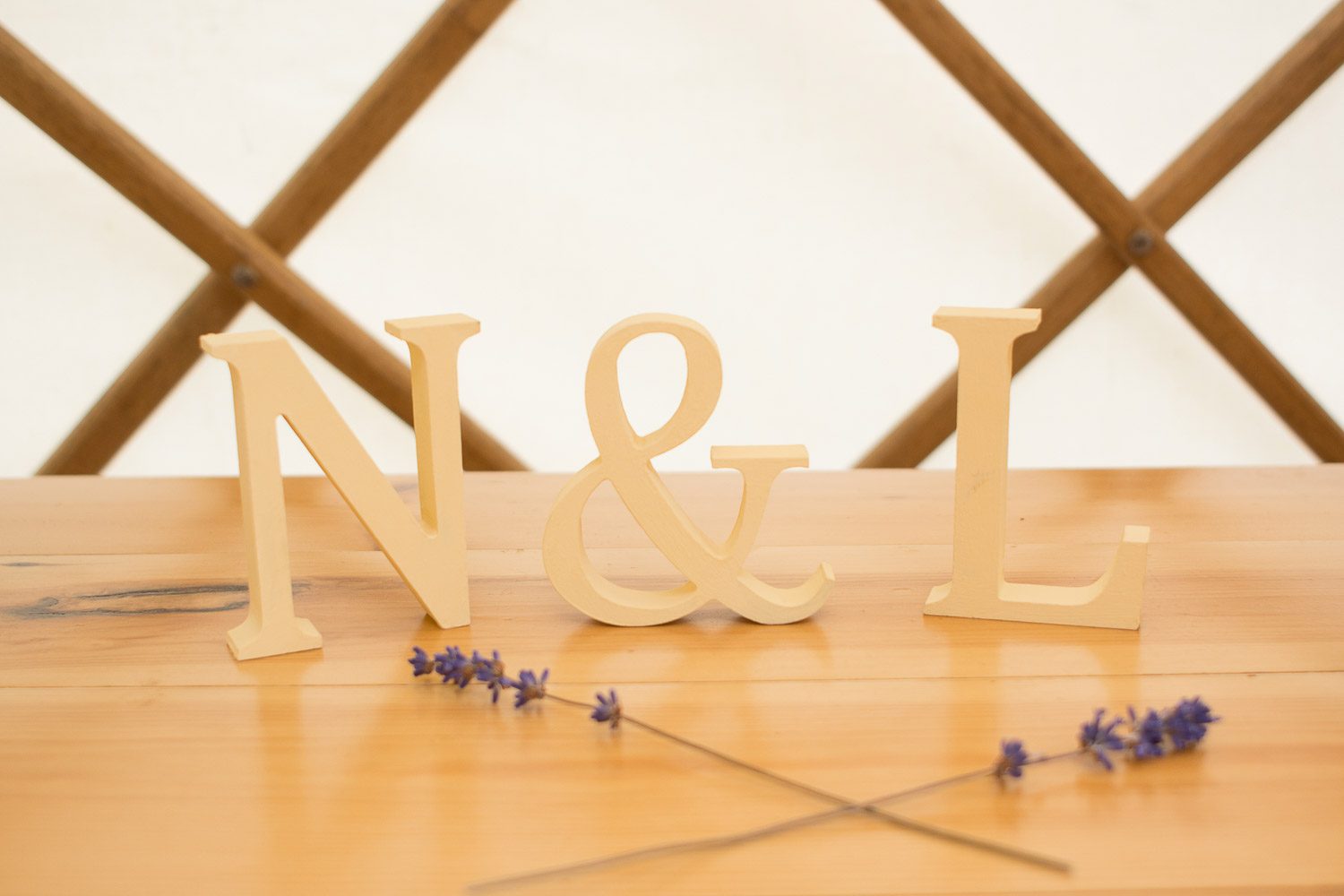 N & L letters and lavender at wedding yurts wedding in leicestershire