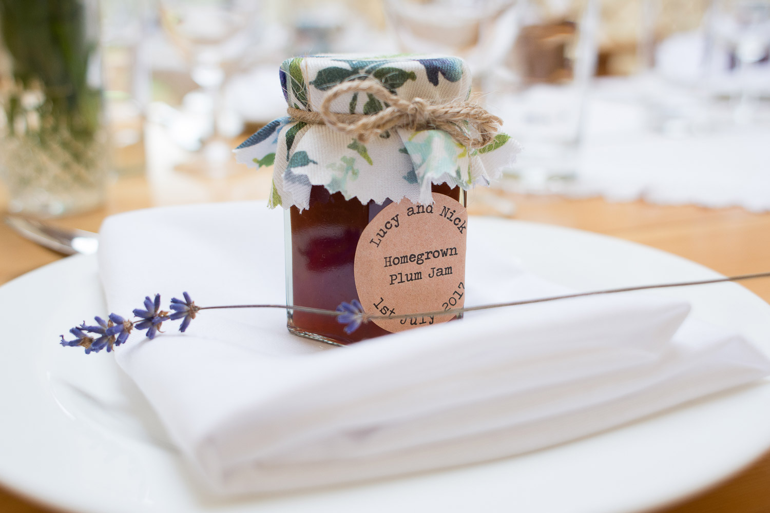 Table details, home made jam and lavender at wedding yurts wedding in leicestershire