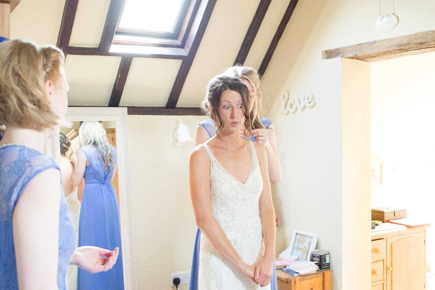 brides face after a telling off for dancing to dizzee rascal at wedding yurts wedding in leicestershire