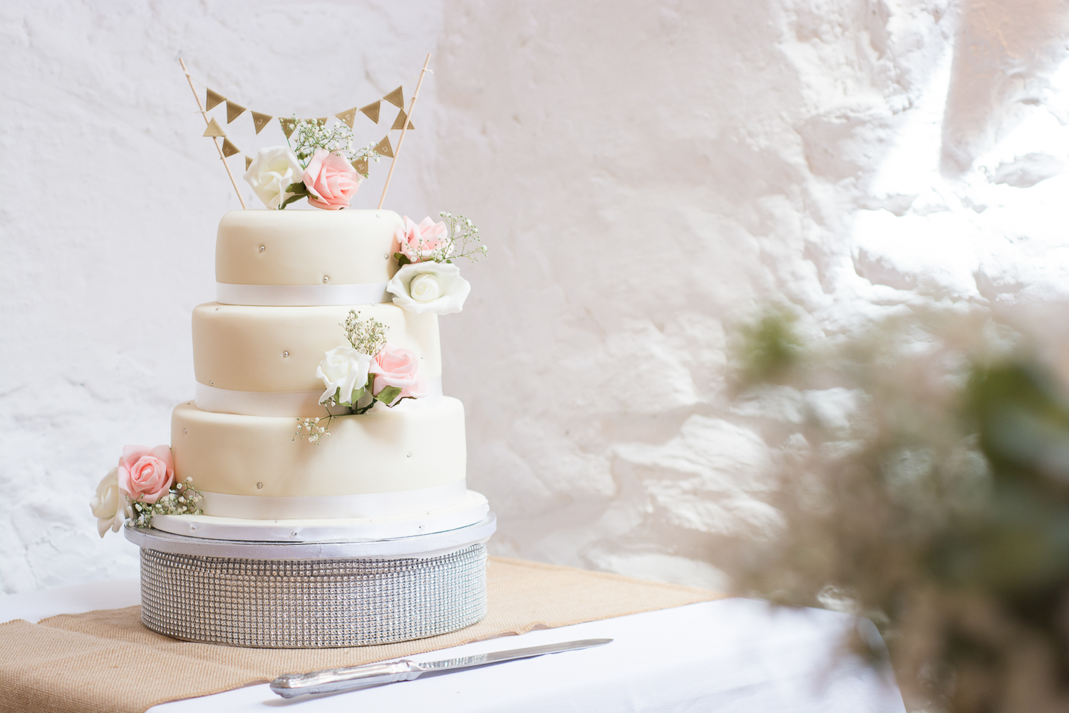 Lovely wedding cake by Ben's Bakes at the Bickley Mill Wedding Venue in Devon