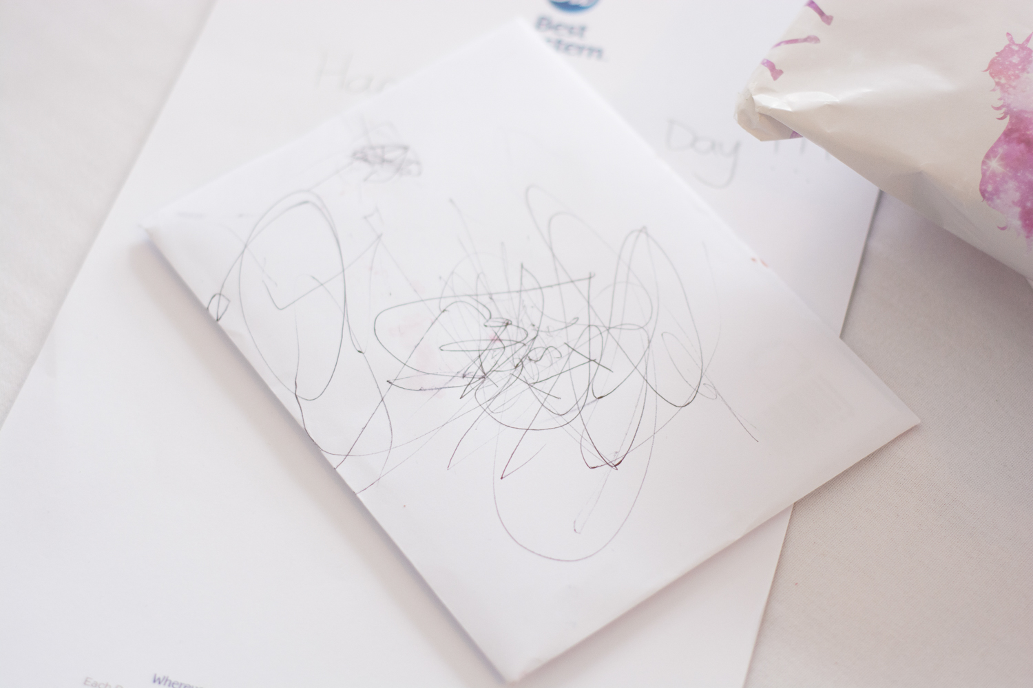 childrens drawings on the table at the lord haldon hotel in devon