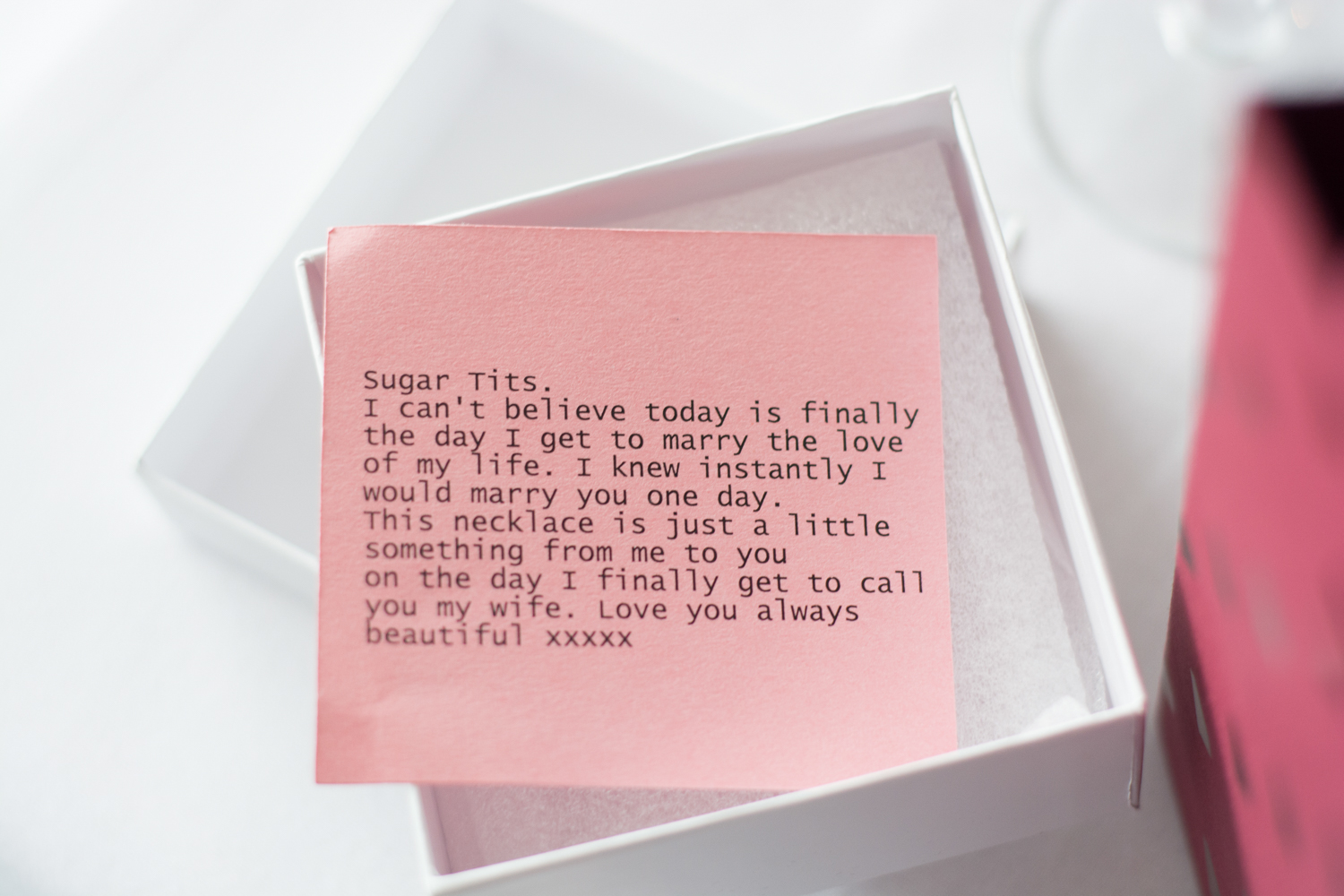 lovely note from the groom to the bride on their wedding day. He calls her Sugar Tits