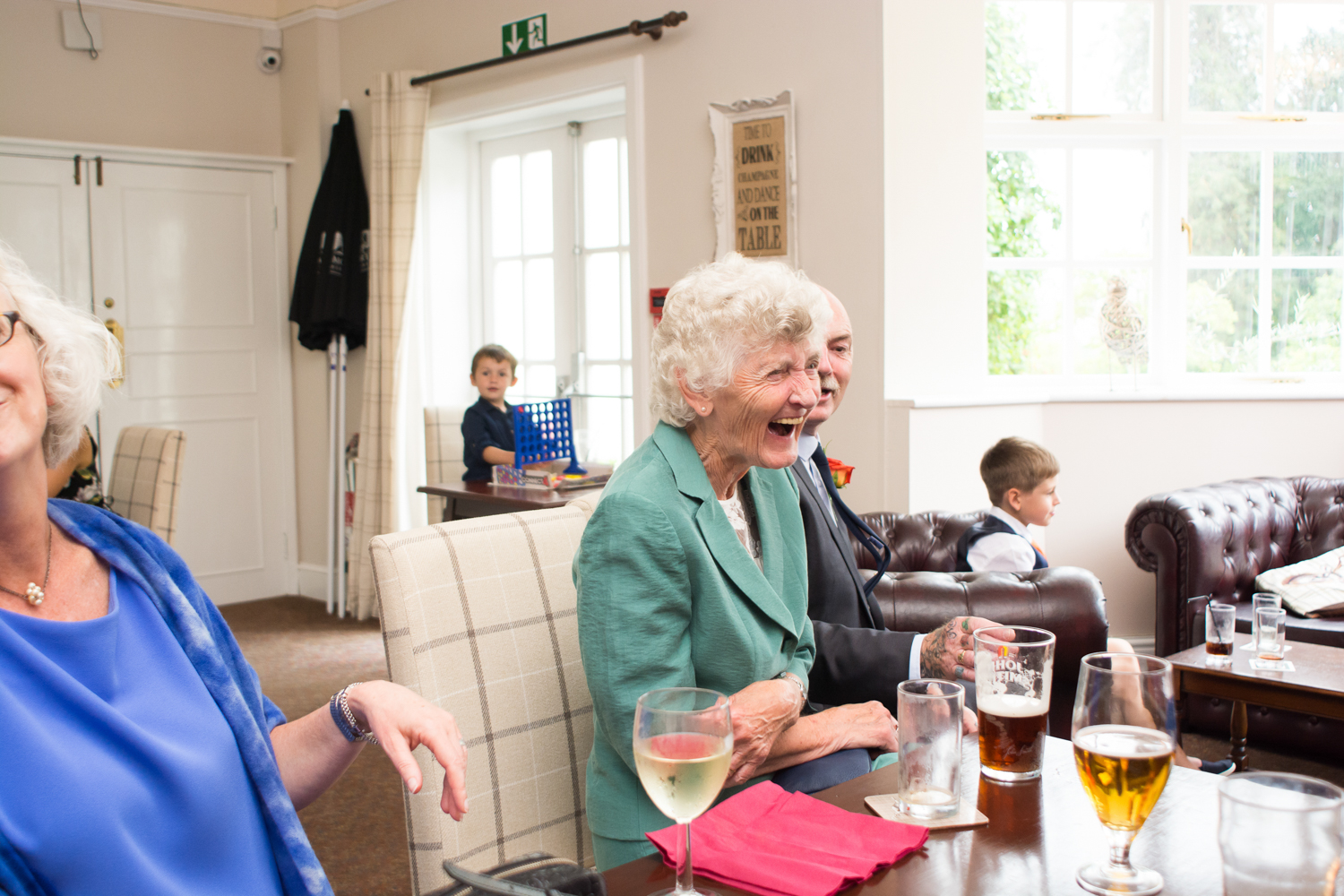 grandma belly laughing at The Lord Haldon Hotel in Devon