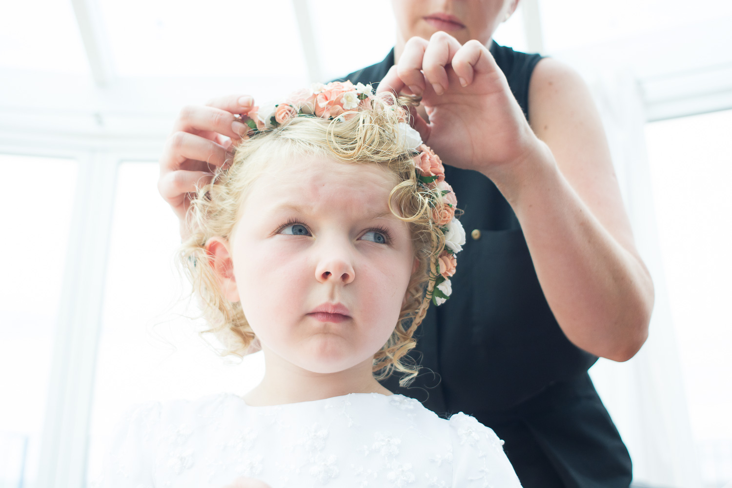 flower girl has her hair done in woolacombe
