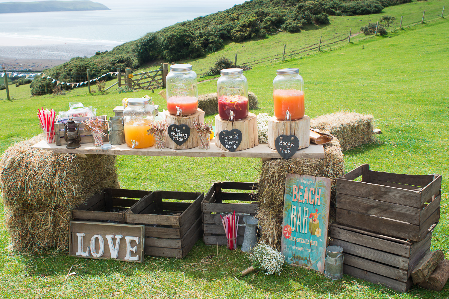 festival style wedding punch bar in woolacombe