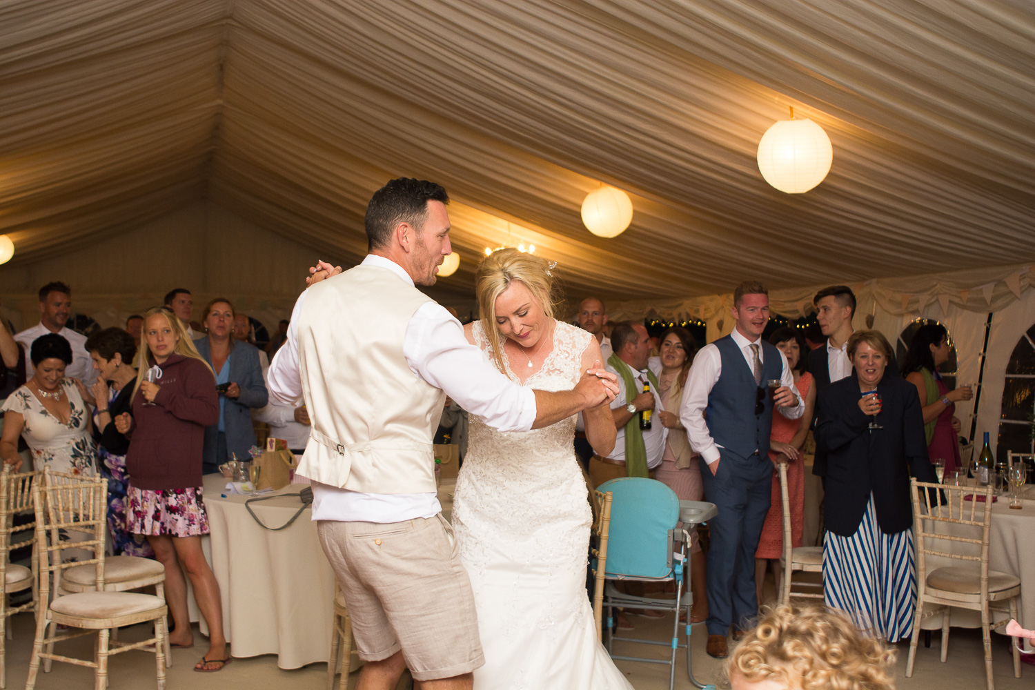 bride and groom first dance at woolacombe wedding