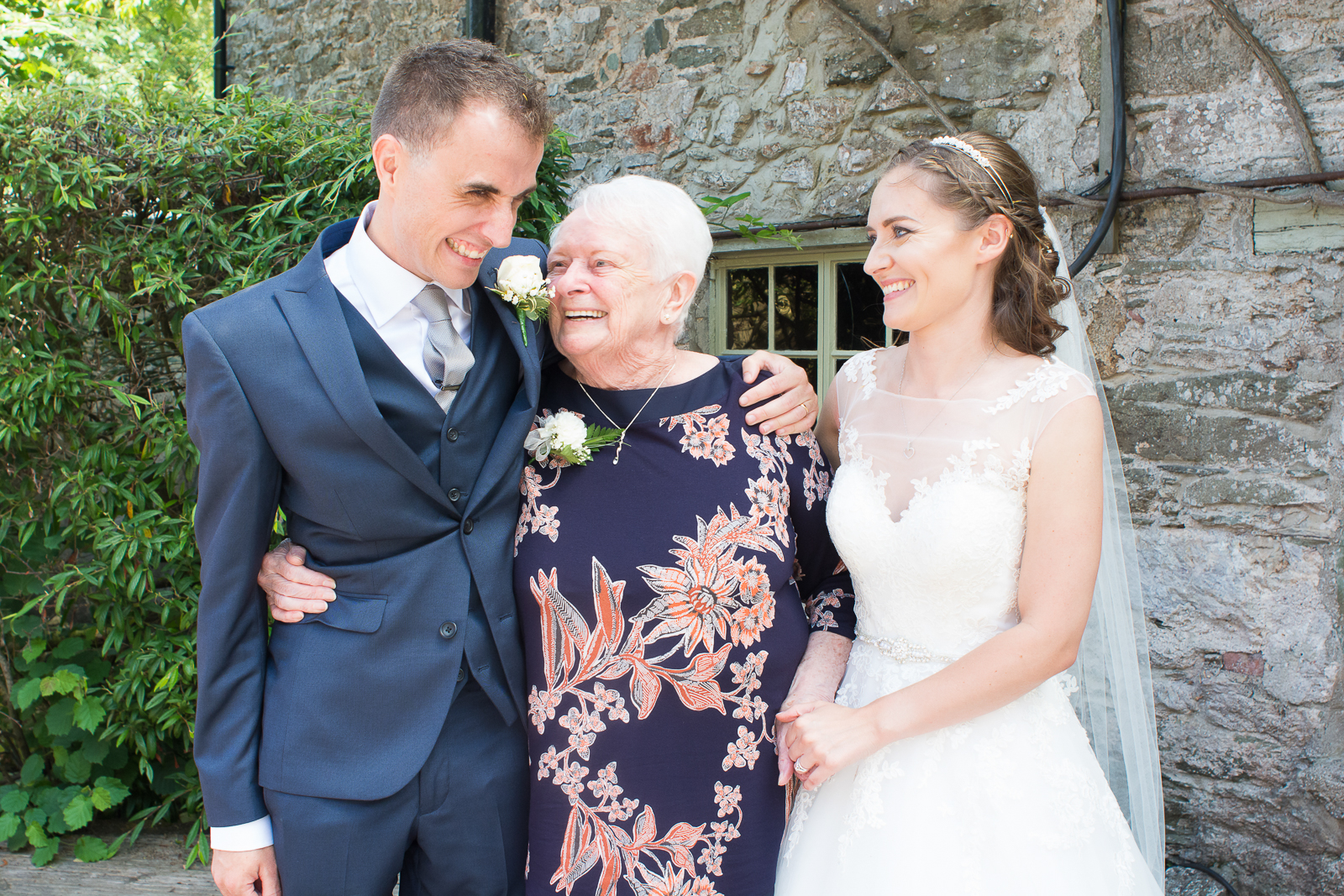 Shanna and Sam with Grandmother at their Bickley Mill wedding in Devon