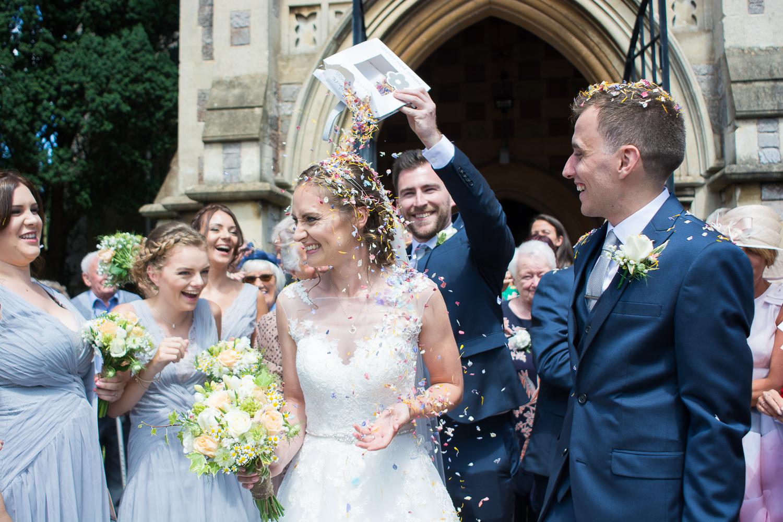 So much confetti at Torquay Wedding