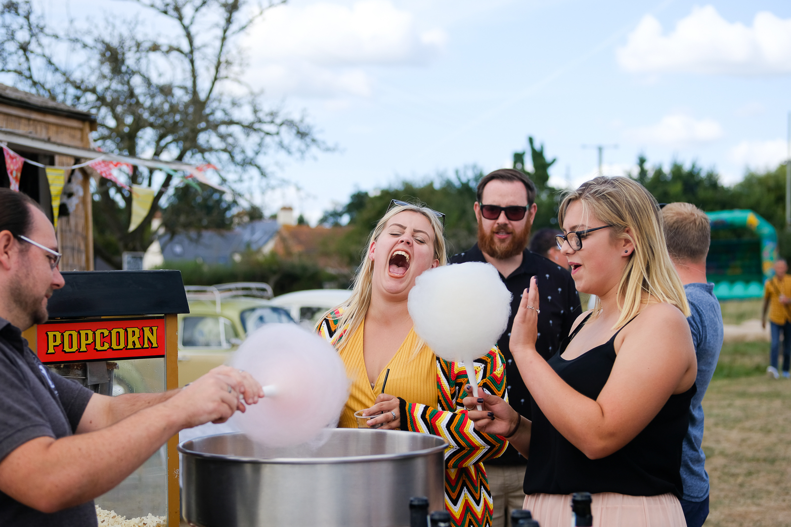 Candy Floss at christina and lees festival wedding in exmouth