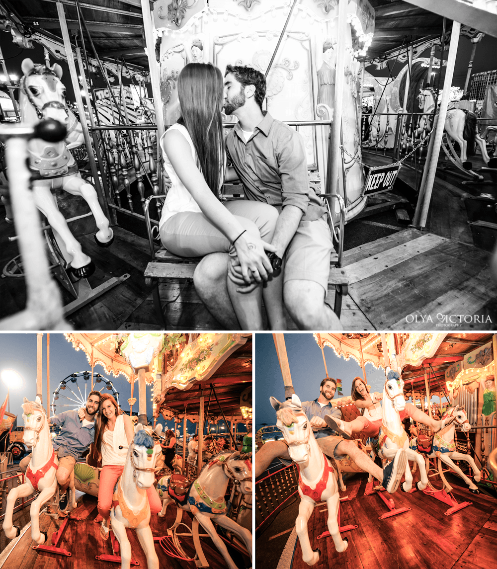 Engagement photos on a Merry Go Round