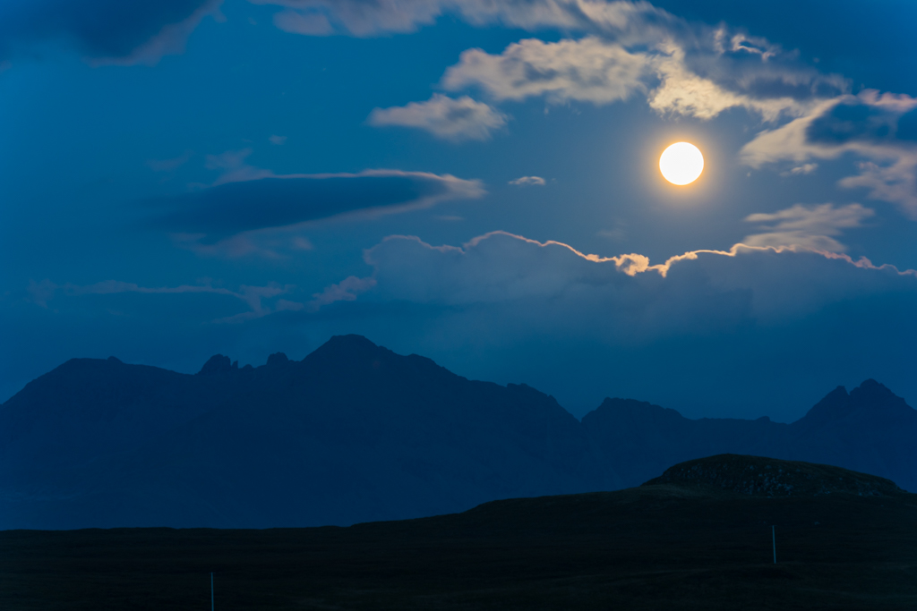 Cuillin Hills in moonlight