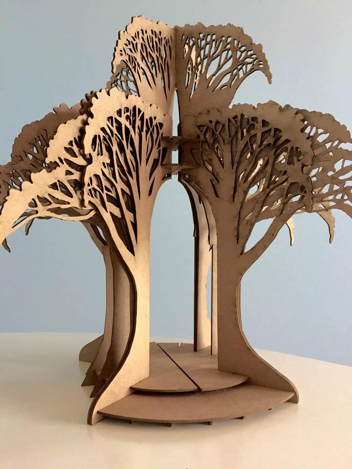 Laser-cut mock-up of Tree