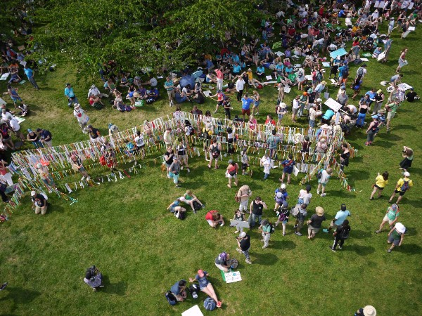 Aerial image of the Climate Ribbon pathway at the People's Climate March, taken by a camera on a kite.