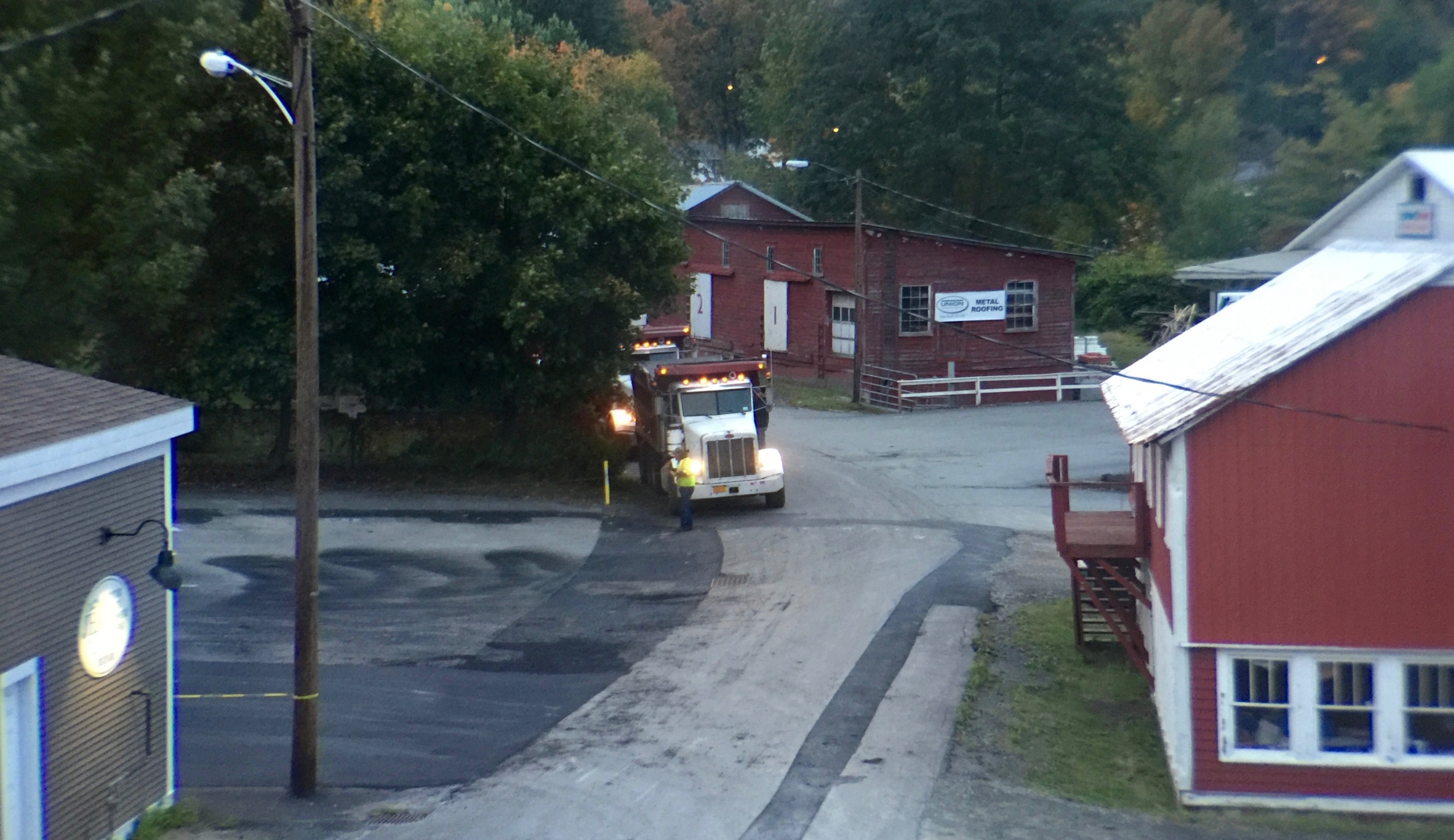 Trucks idling behind my hotel room in Montrose at 6:30 am.