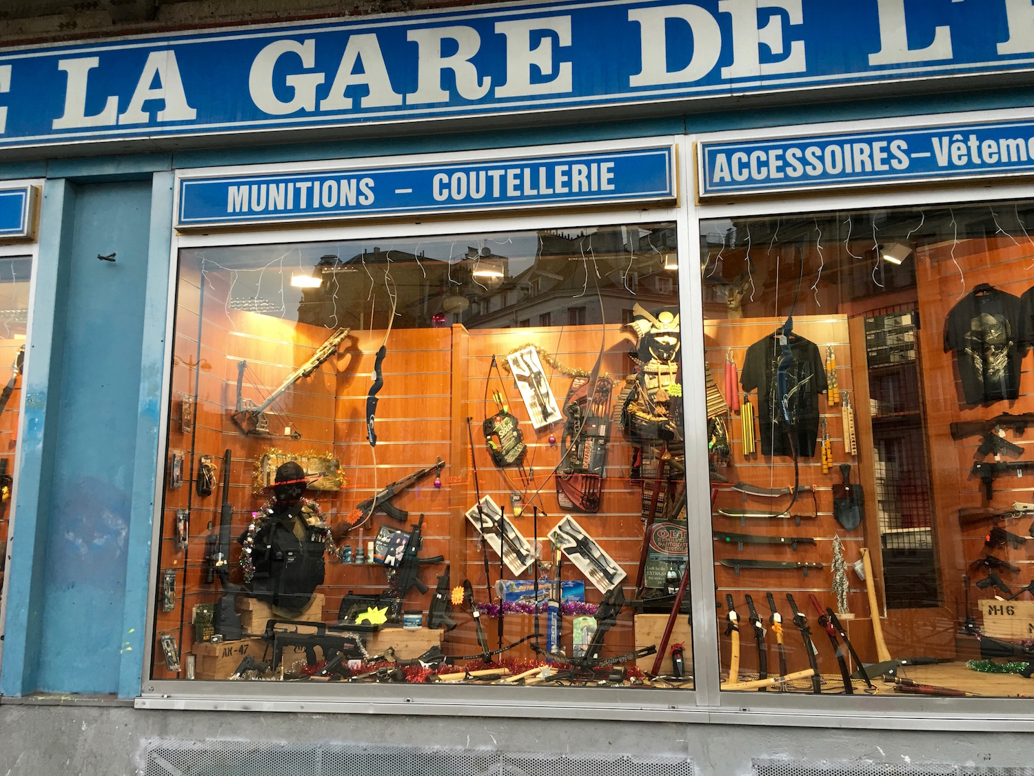 A weapons store in Paris not too far from Gare de Nord. So odd to see after the attacks...