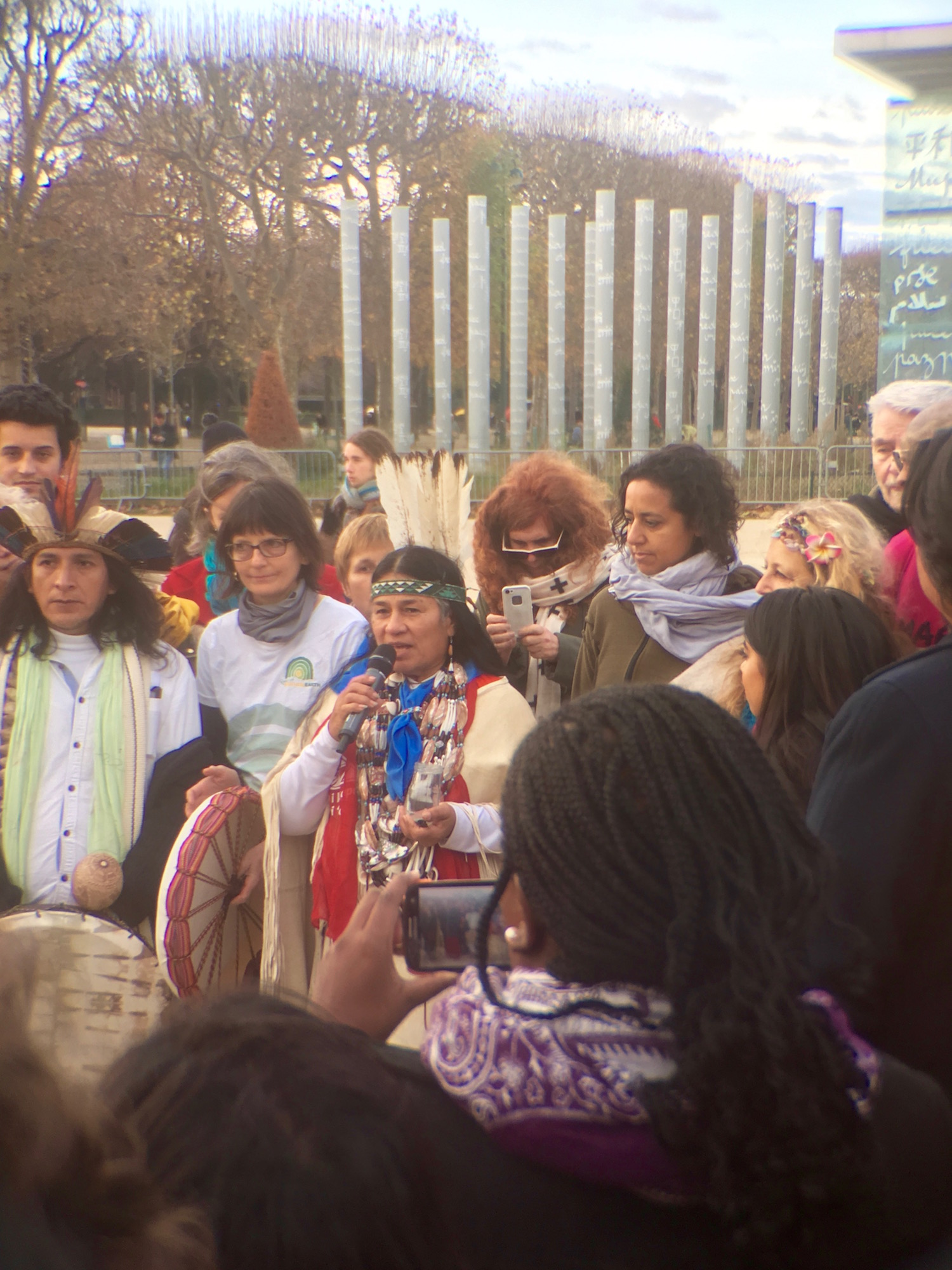 On the next day in the Champ de Mars, indigenous people gathered to speak from the heart about the plight of the earth and her creatures.