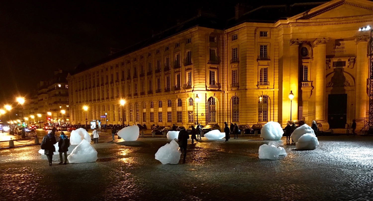 The famous ice show was a big hit and the fragments of glaciers melted as COP21 wore down. The Artist in Charge of the Installation was Olafur Eliasson.