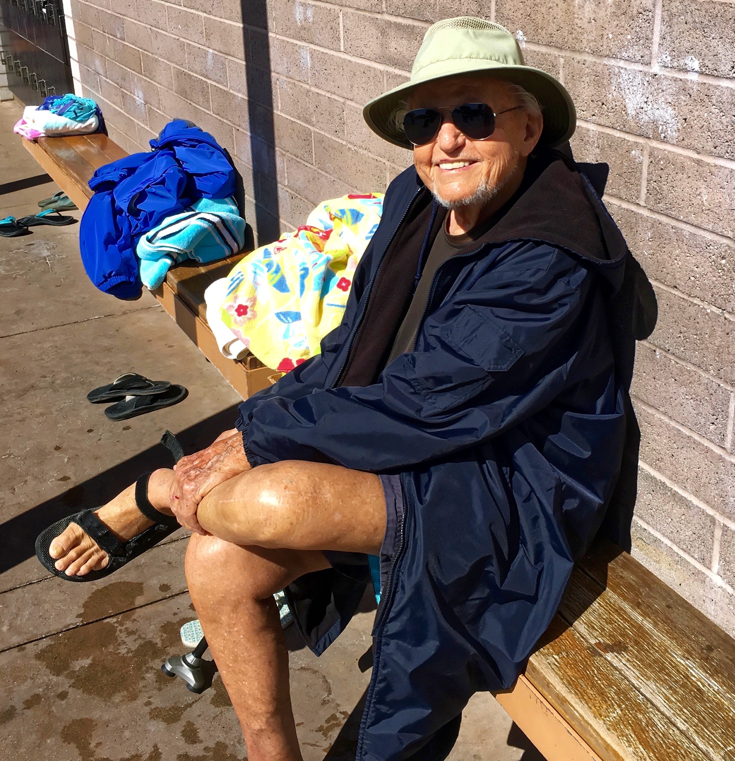My Dad drying off after a swim. The guy is amazing. It was such a pleasure to see him on this trip...
