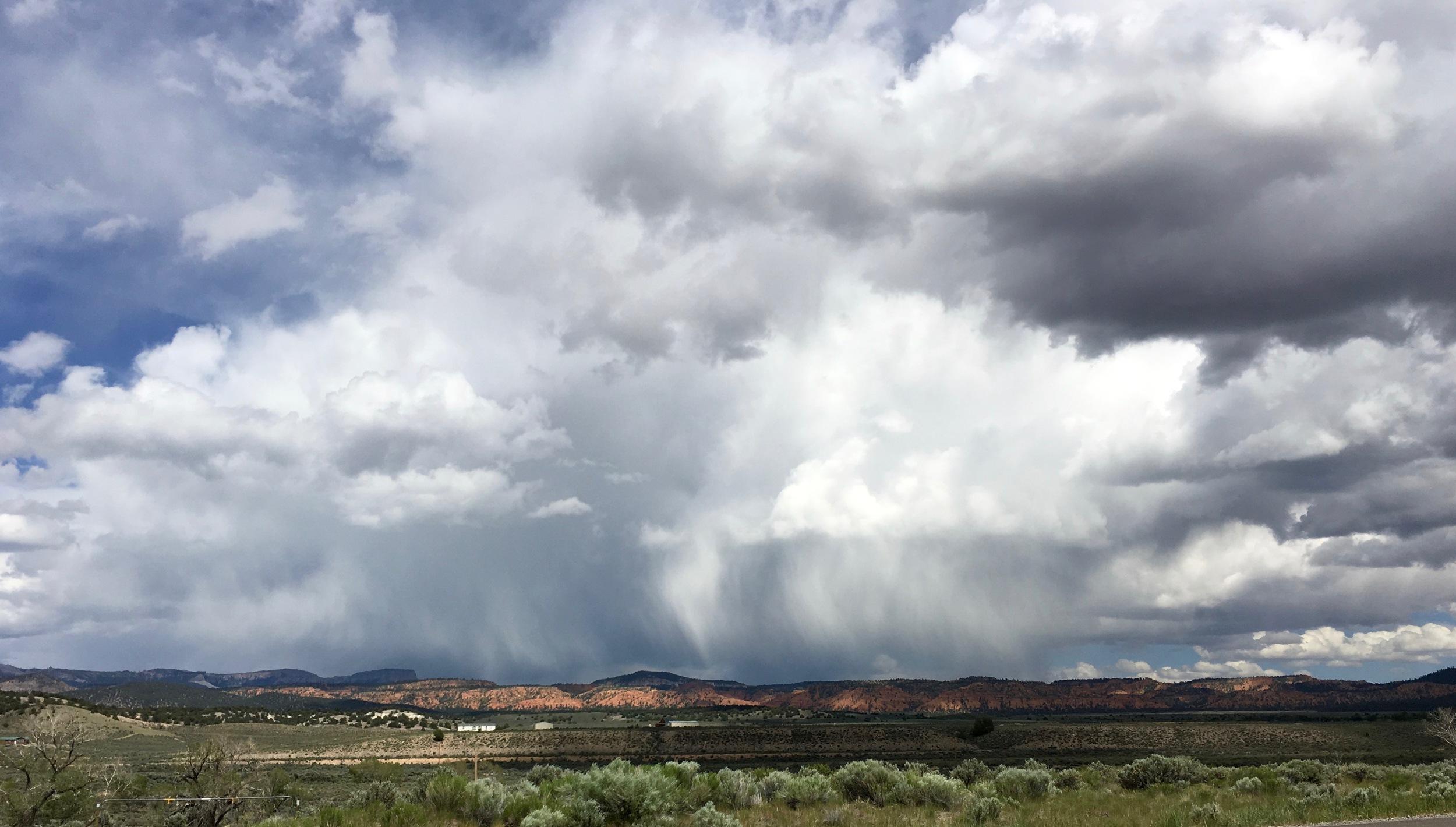 Rain clouds near Panguitch, Utah, as I biked toward Red Canyon State Park.