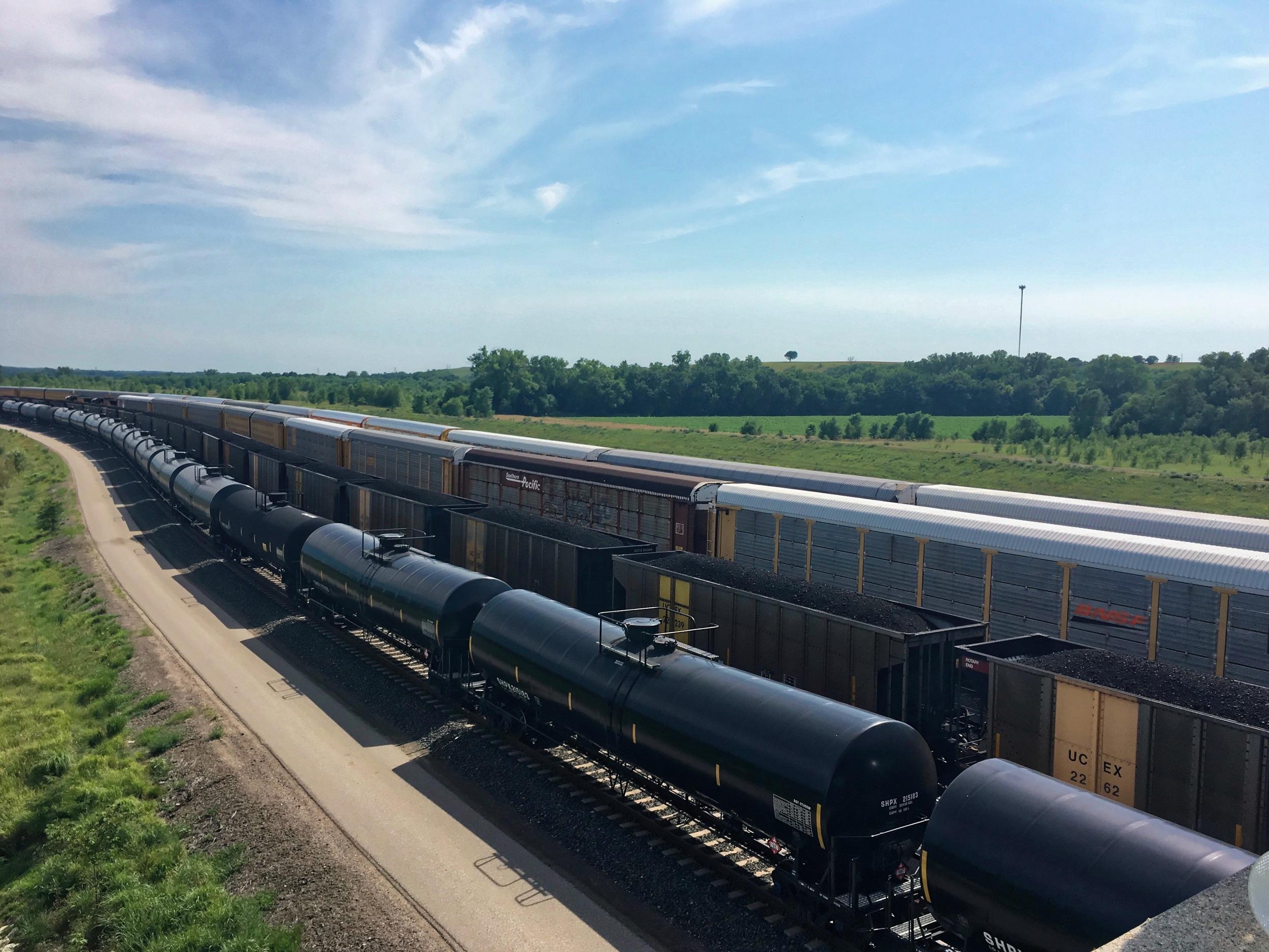 A coal train moving through Missouri.