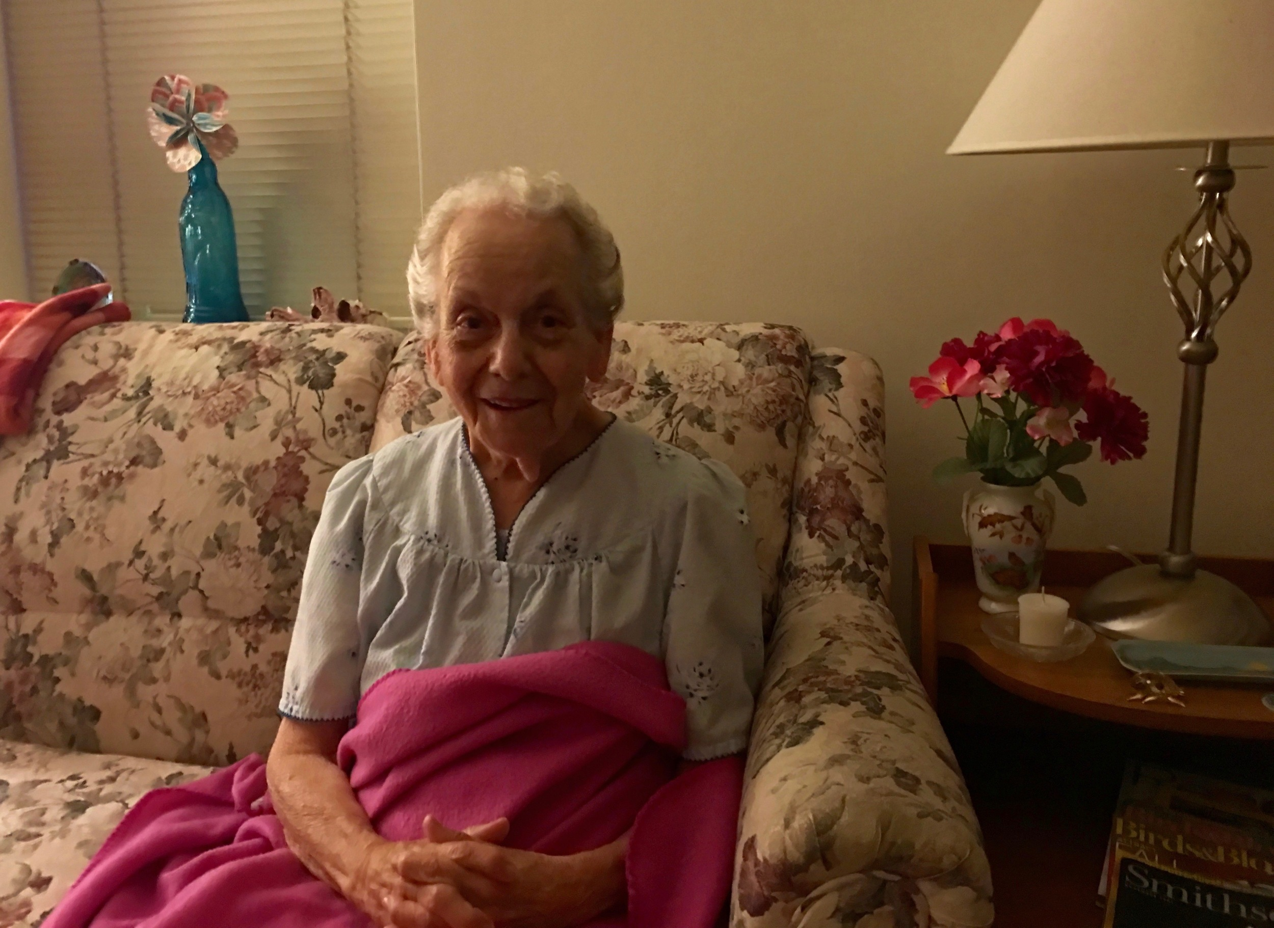 My mom in the living room of her apartment at the Kensington, an assisted living facility in Galesburg.