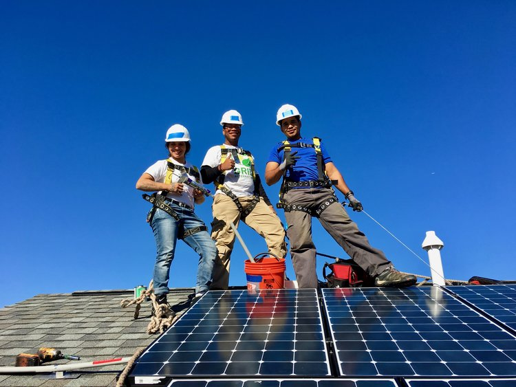 NYC GRID crew installing a solar array in New Jersey.