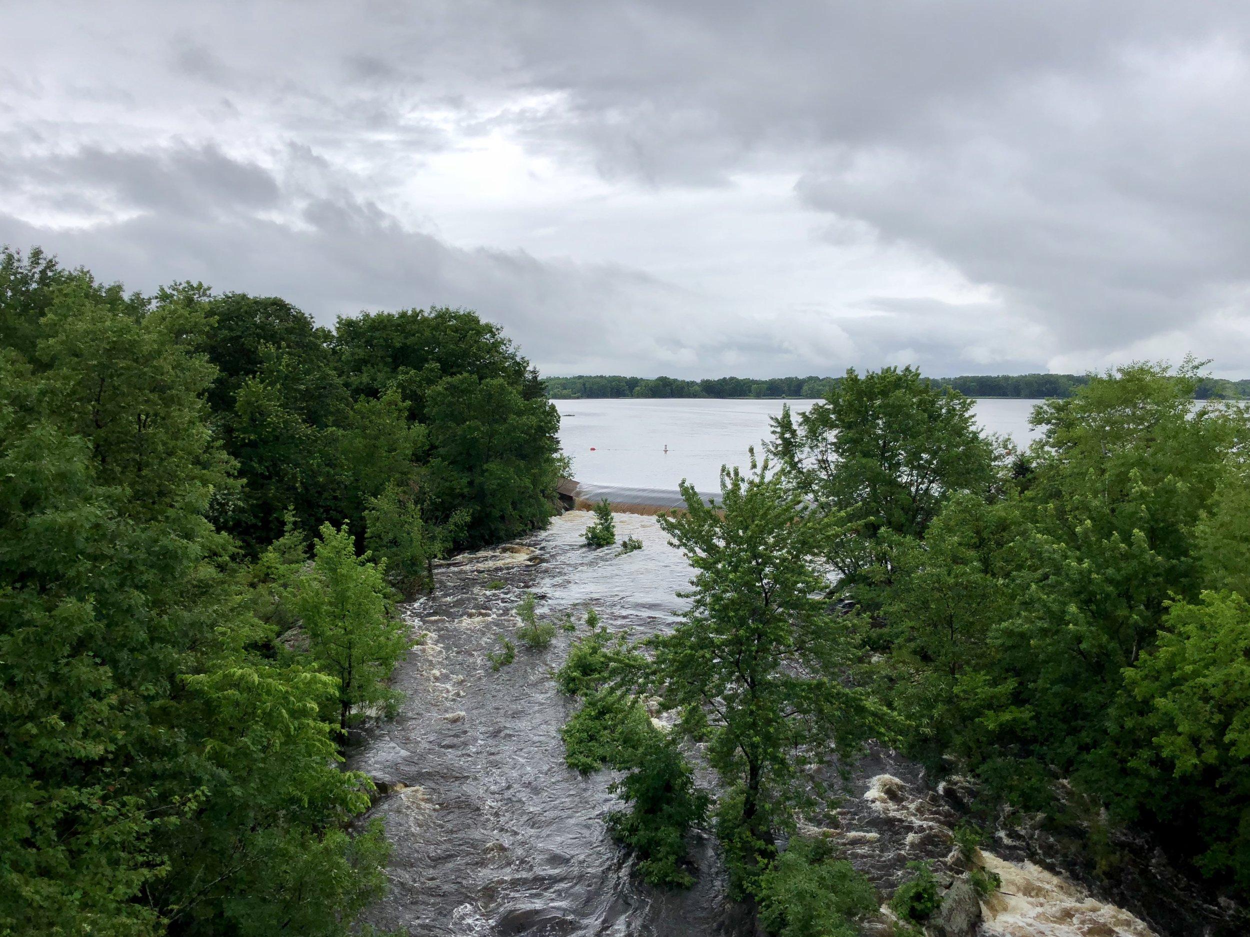 The swollen Wisconsin River.