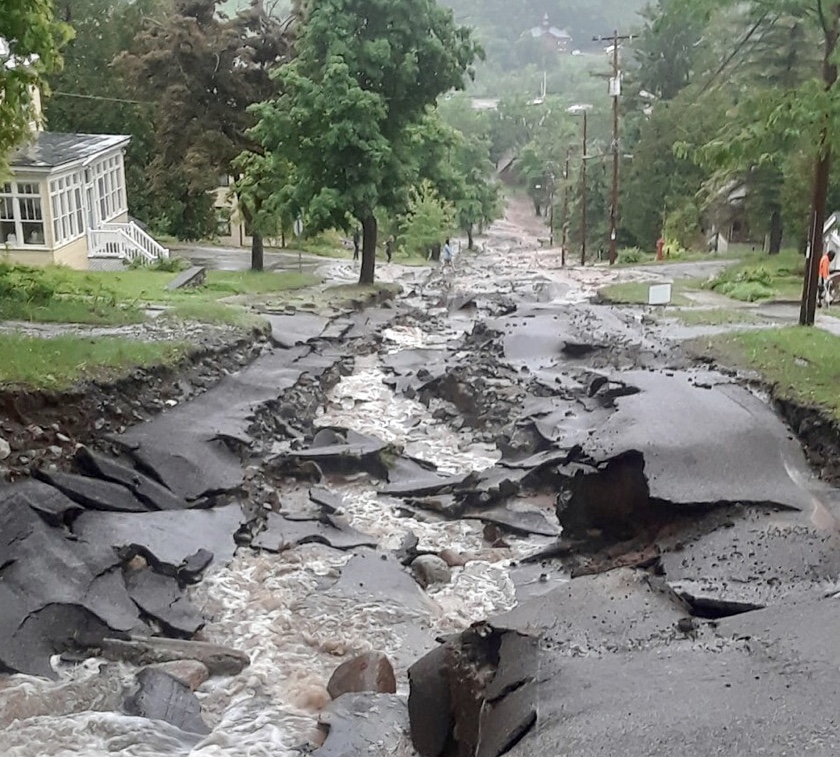 Houghton, MI. This is how extreme rain can ruin a road.