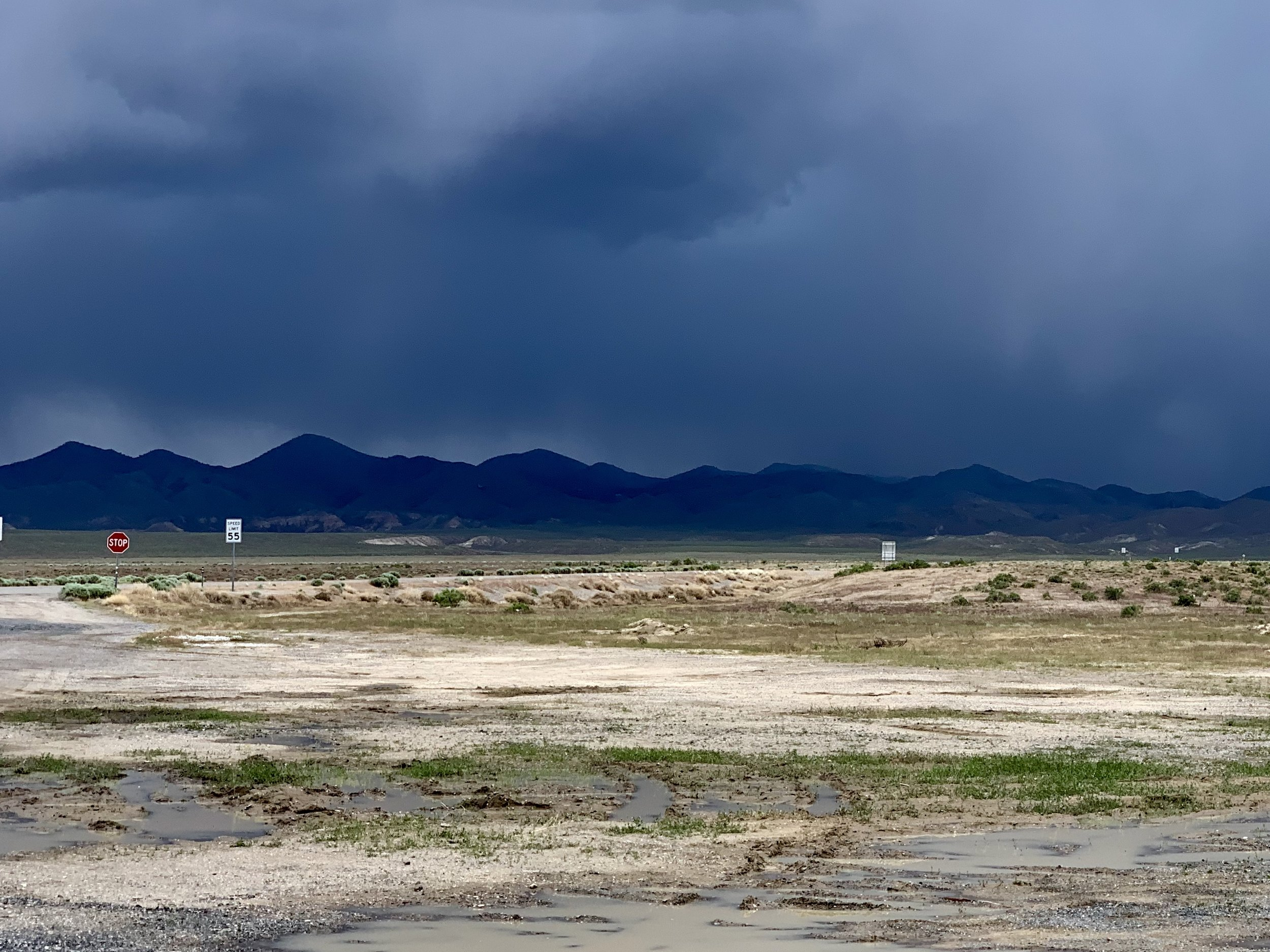 Storm clouds forming to the east of Middlegate, Nevada.