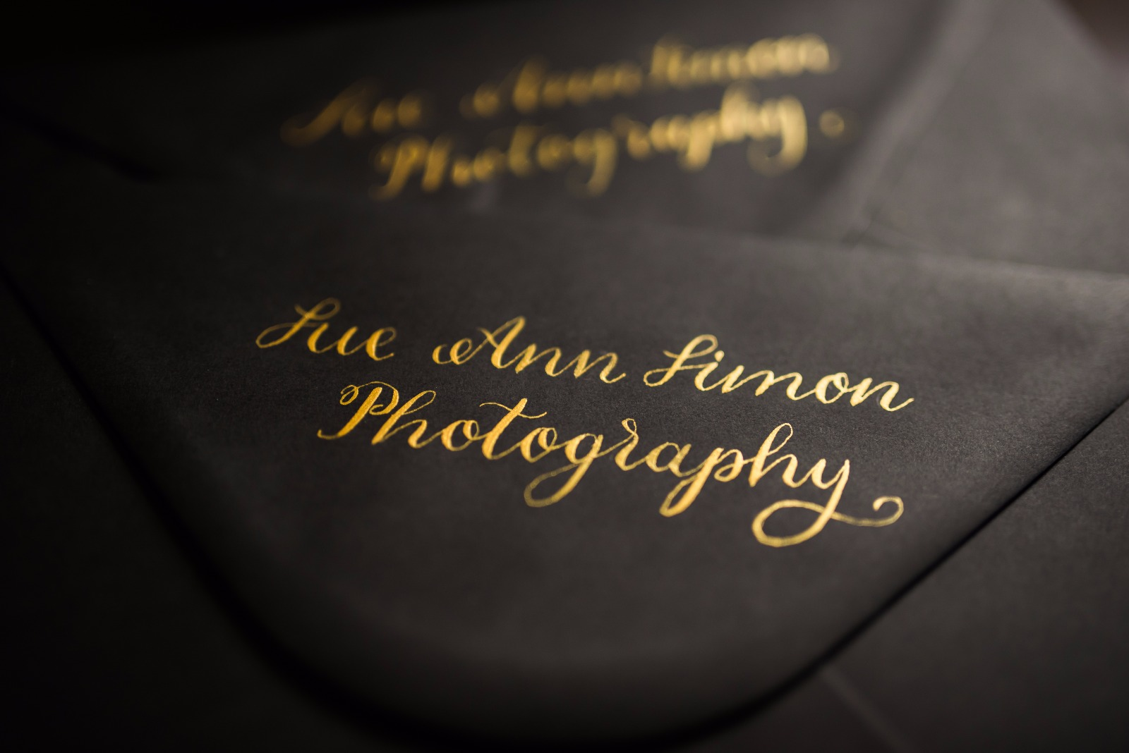 This calligraphy was created using my Finetec palette on matt black envelopes.