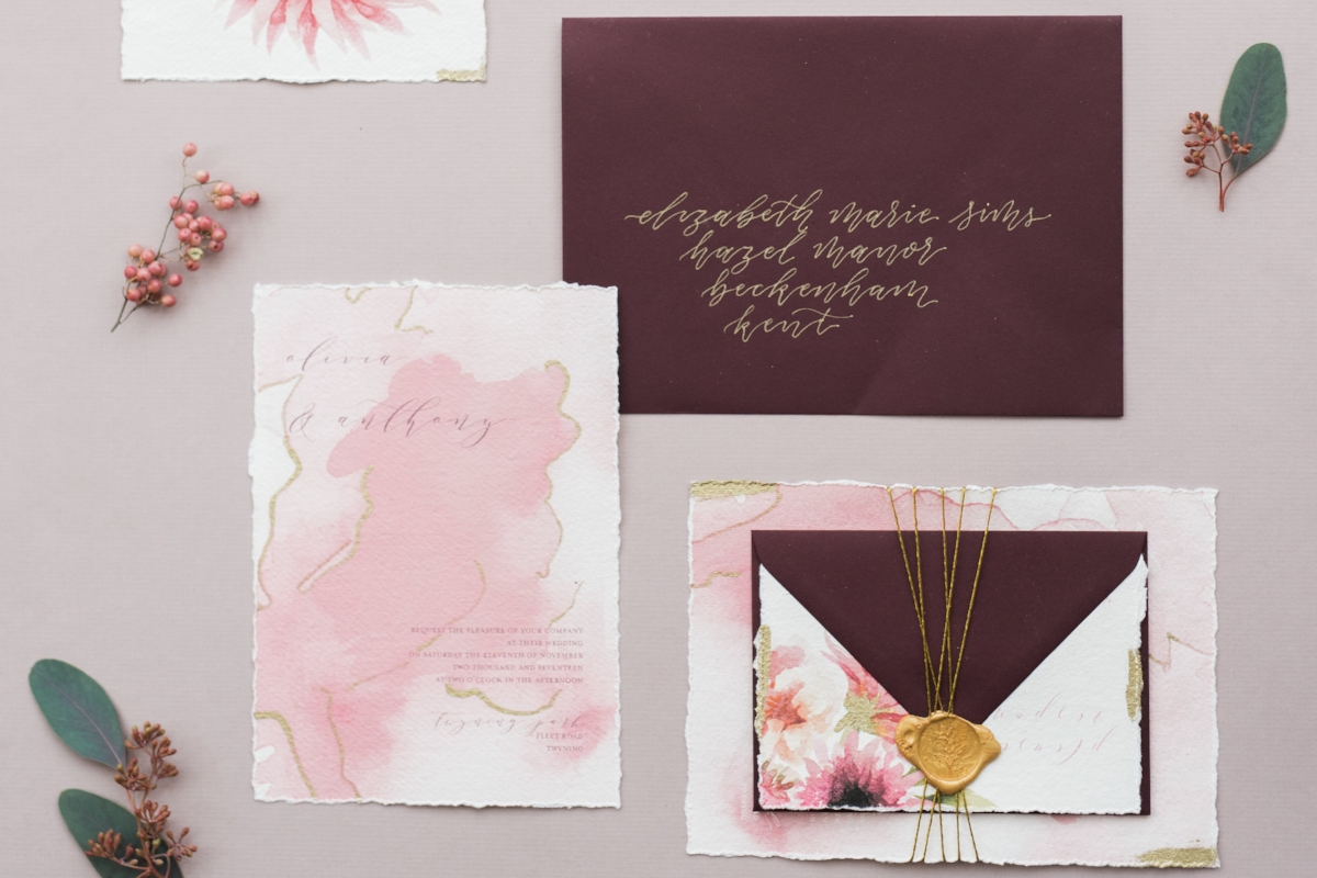 Modern calligraphy invitation with wax seal on handmade cotton rag paper by Studio Oudizo, Cheltenham