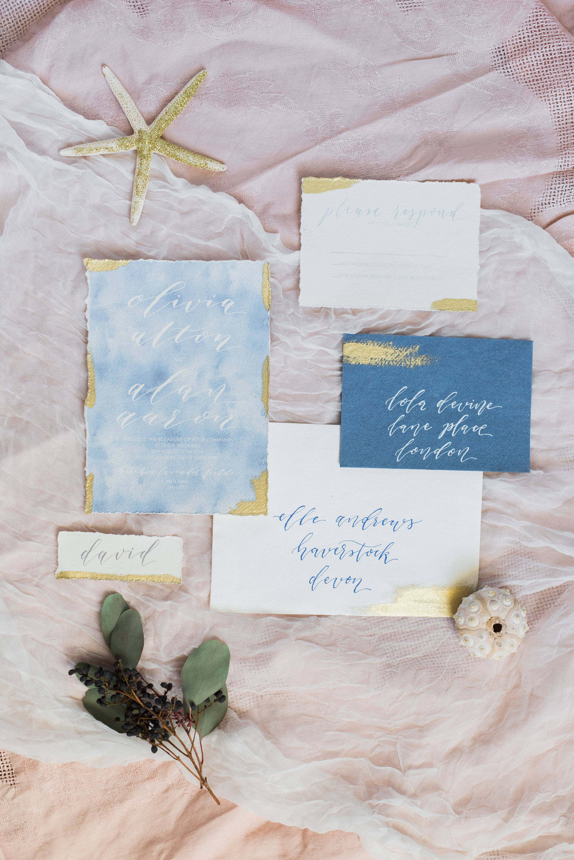Water colour and gold leaf Modern calligraphy invitation on handmade cotton rag paper by Studio Oudizo, Cheltenham