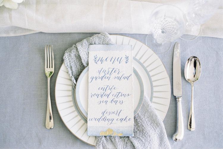 Handwritten Calligraphy wedding menu on handmade paper by Studio Oudizo, Cheltenham