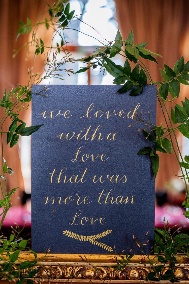 Modern Calligraphy Wedding Signage with gold ink on black by Studio Oudizo, Cheltenham