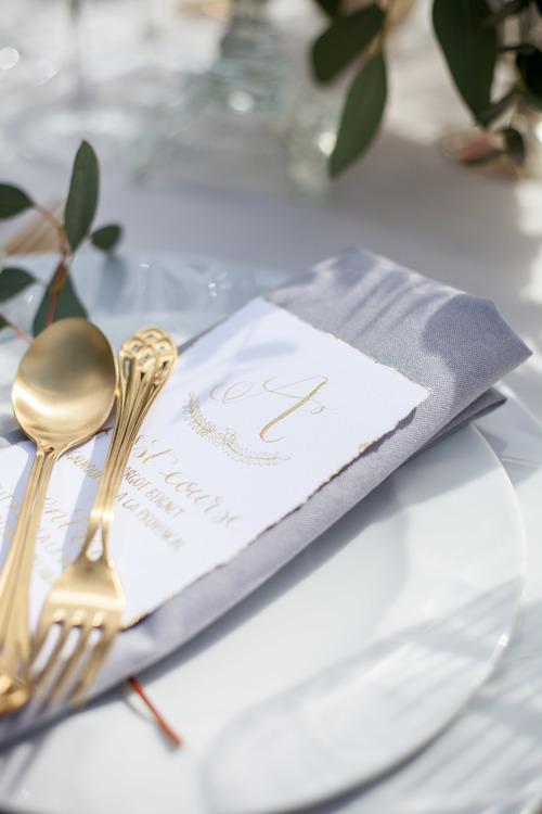 Handwritten Calligraphy Wedding Menu in gold ink by Studio Oudizo, Cheltenham