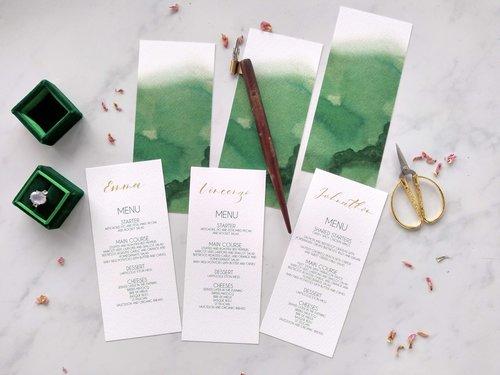 Wedding Menu Personalised with Gold Calligraphy by Studio Oudizo, Cheltenham