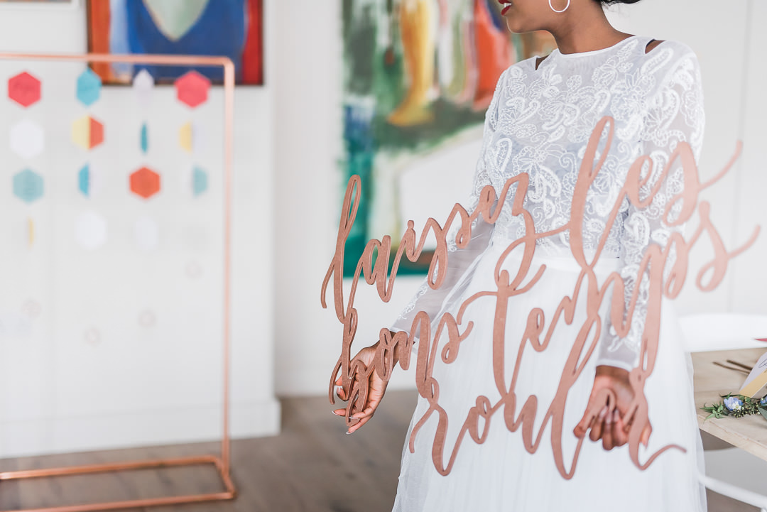 Rose Gold Modern Calligraphy Laser Cut out wall hanging by Studio Oudizo, Cheltenham