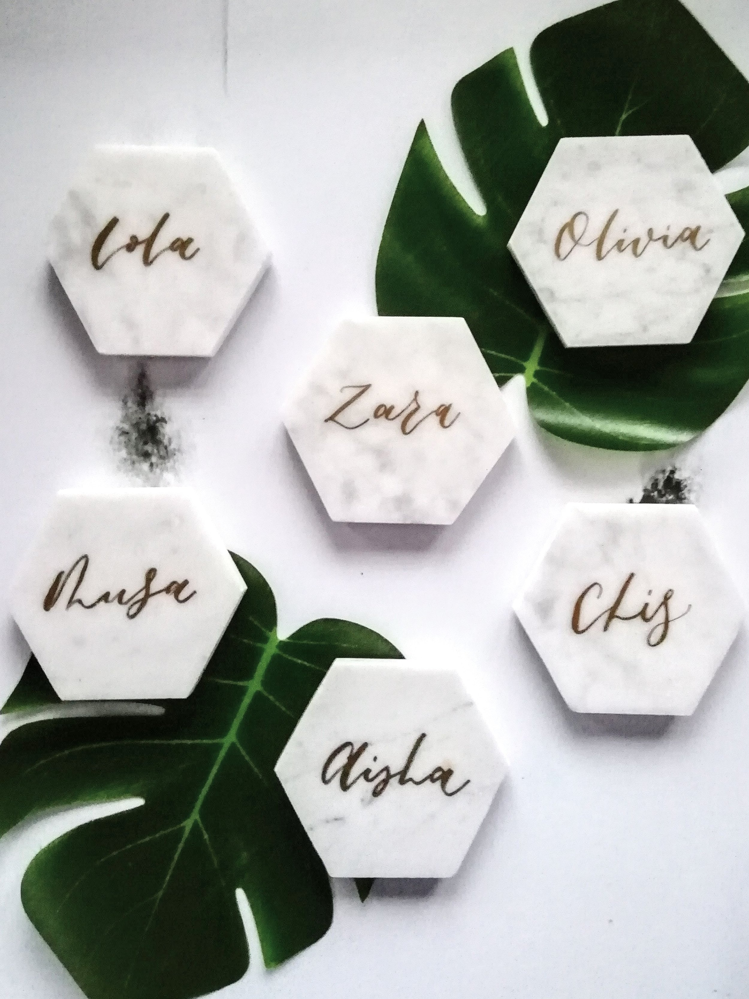 Calligraphy Marble Coaster Place cards